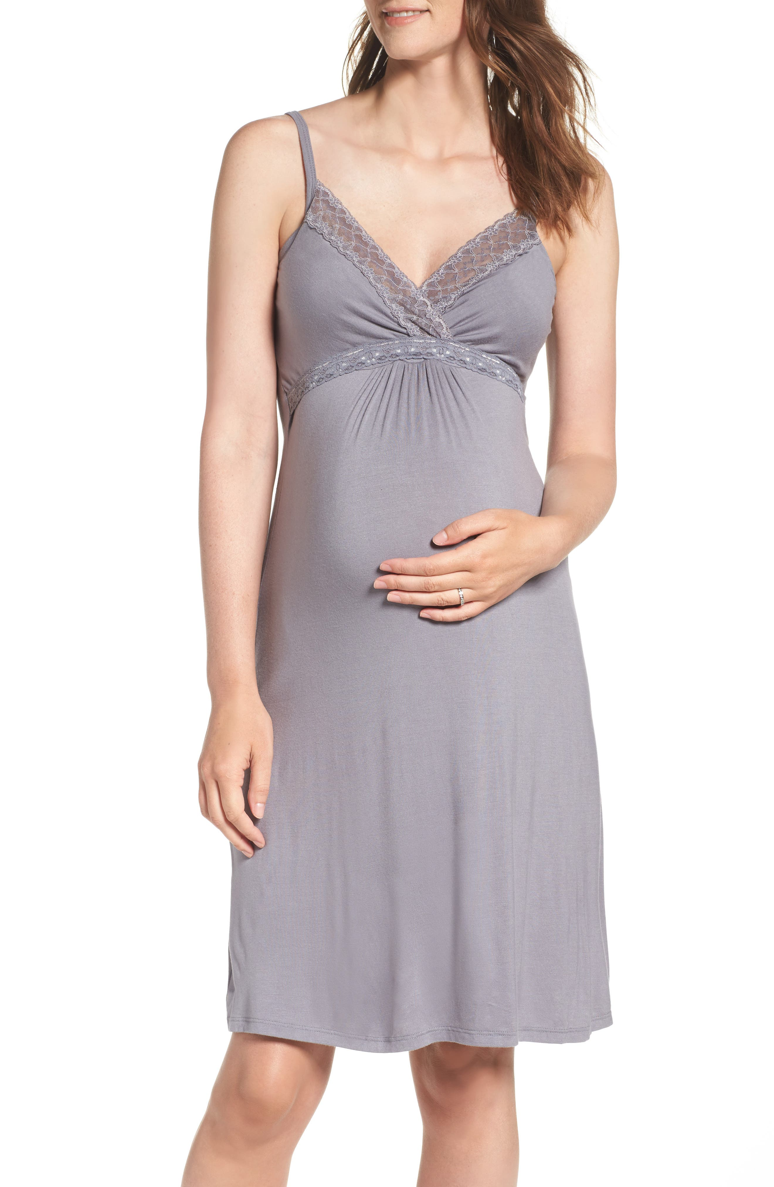 Maternity/Nursing Jersey Chemise,                             Main thumbnail 1, color,                             Grey