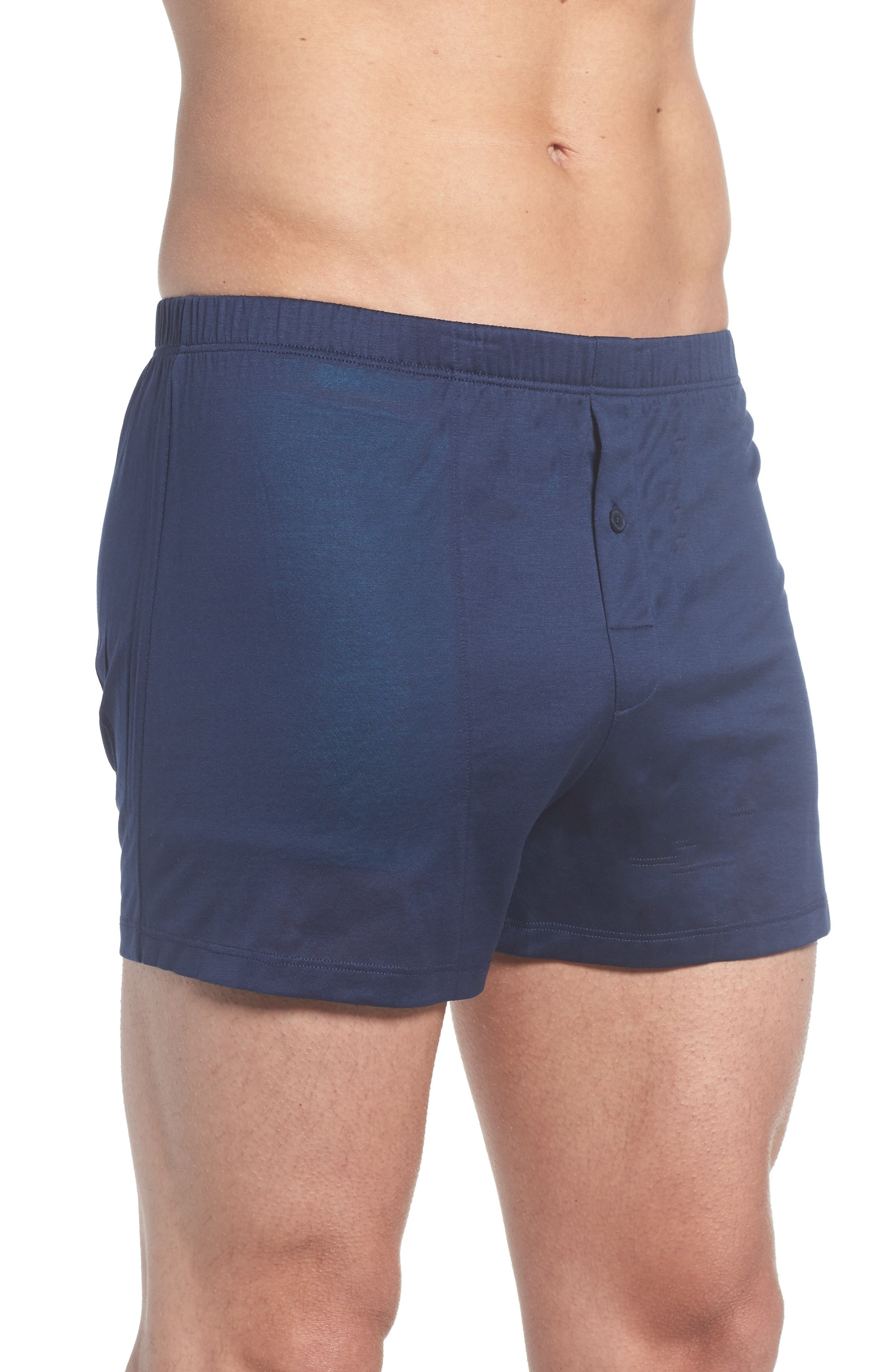 Cotton Sporty Knit Boxers,                             Alternate thumbnail 3, color,                             Midnight Navy