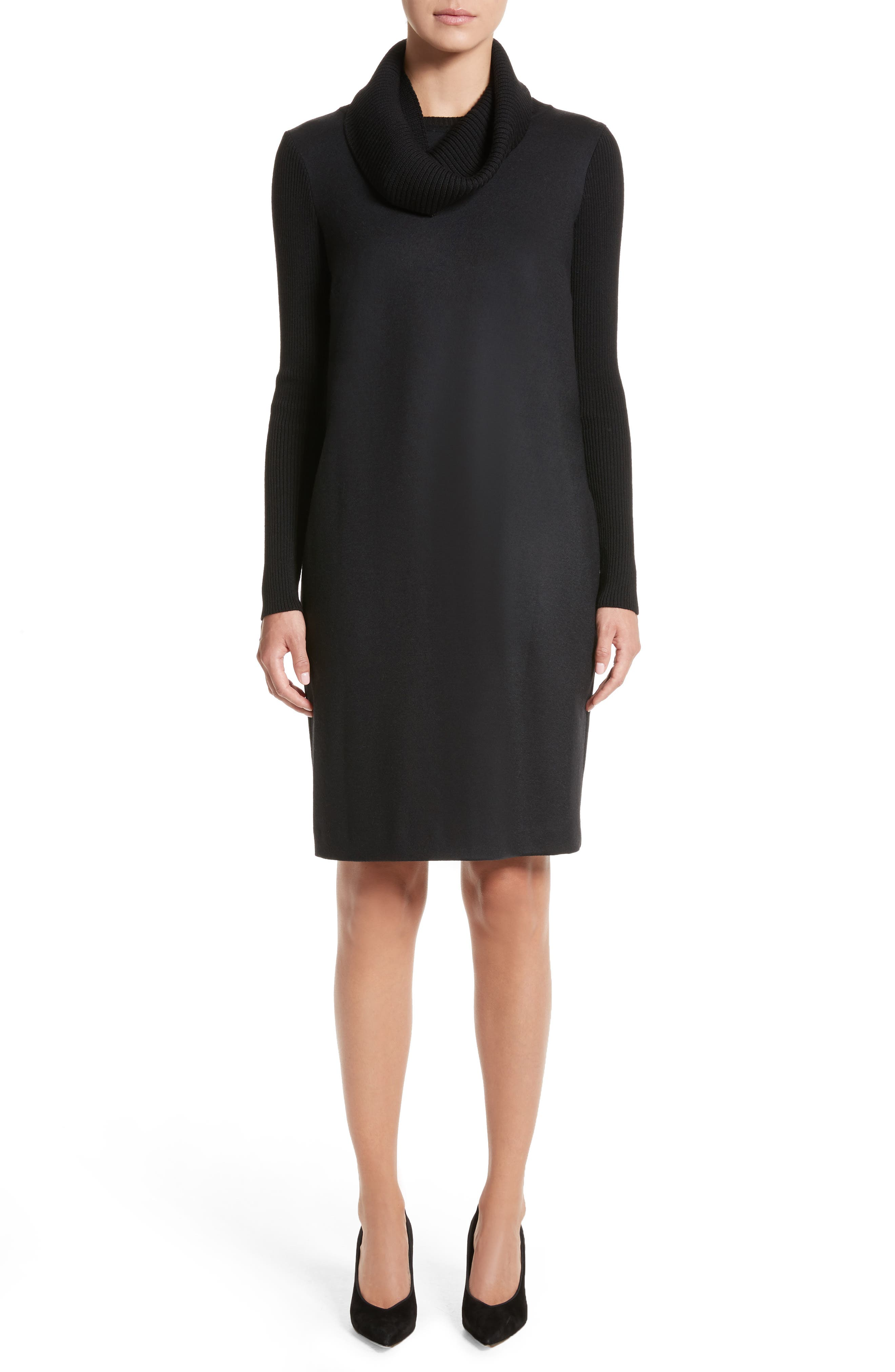 Cancan Wool Jersey Dress with Removable Knit Cowl,                         Main,                         color, Black