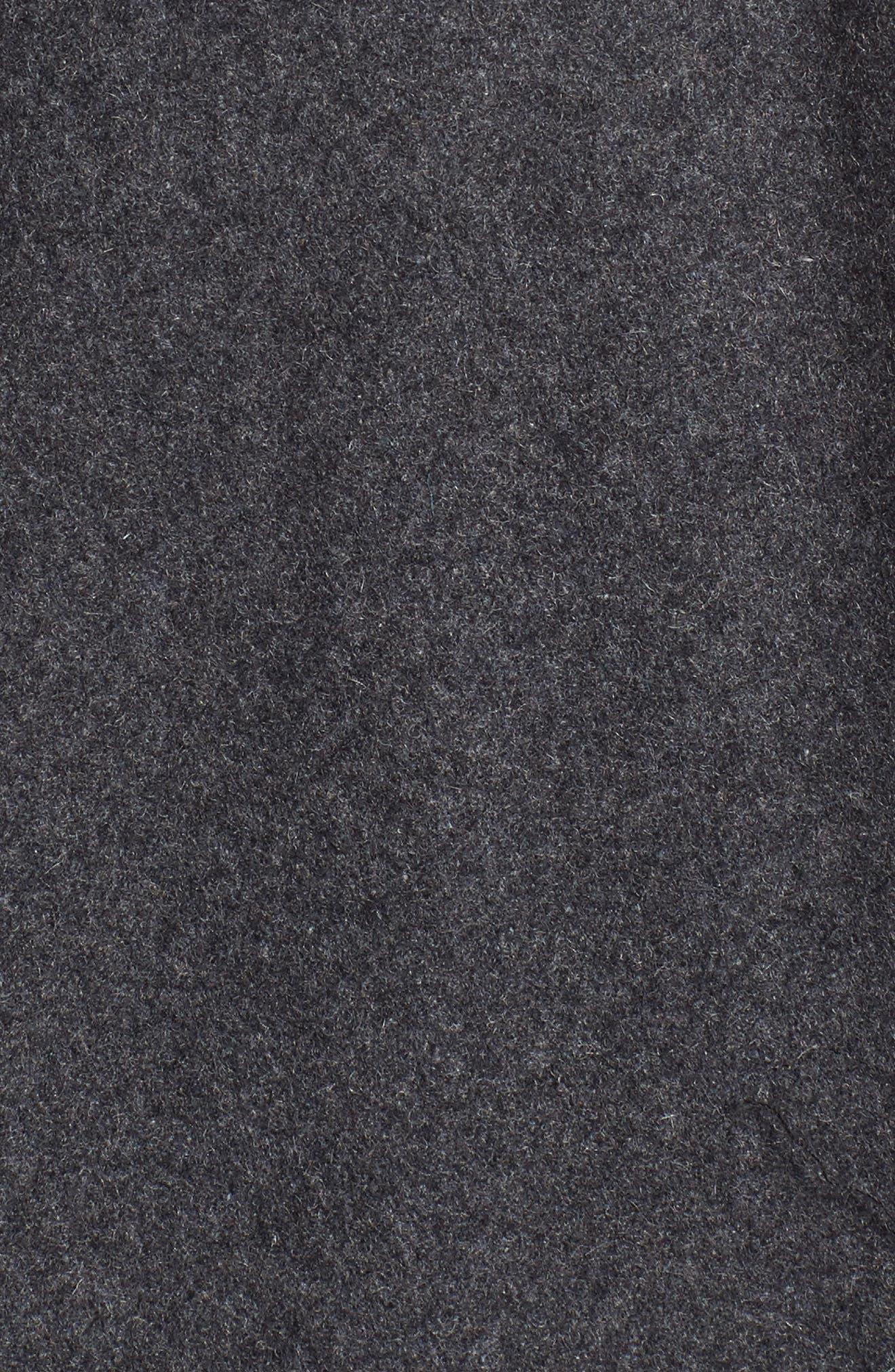 Burnett Wool Blend Peacoat with Front Insert,                             Alternate thumbnail 5, color,                             Charcoal