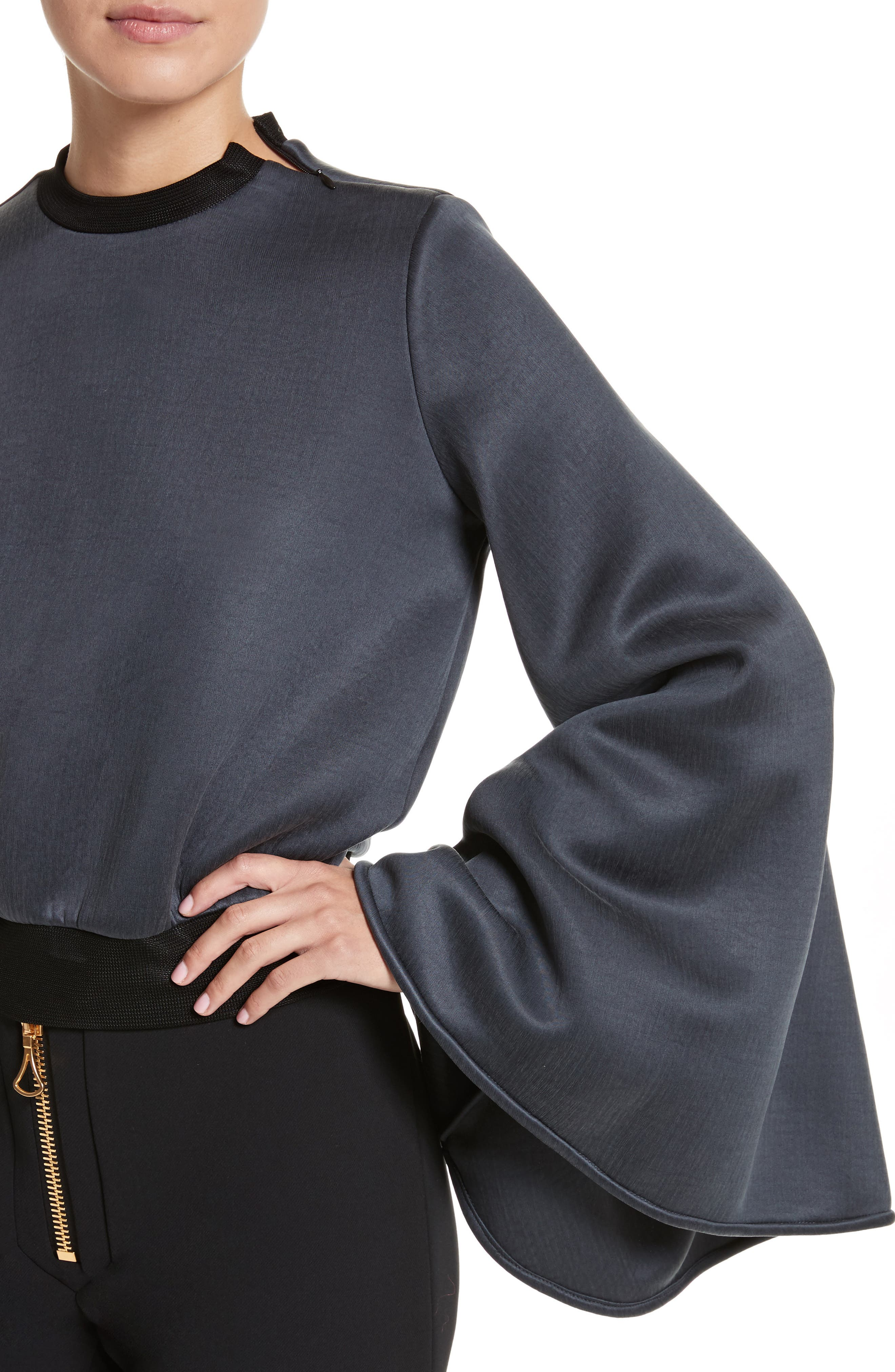 Immortal Flare Sleeve Sweater,                             Alternate thumbnail 6, color,                             Charcoal Navy