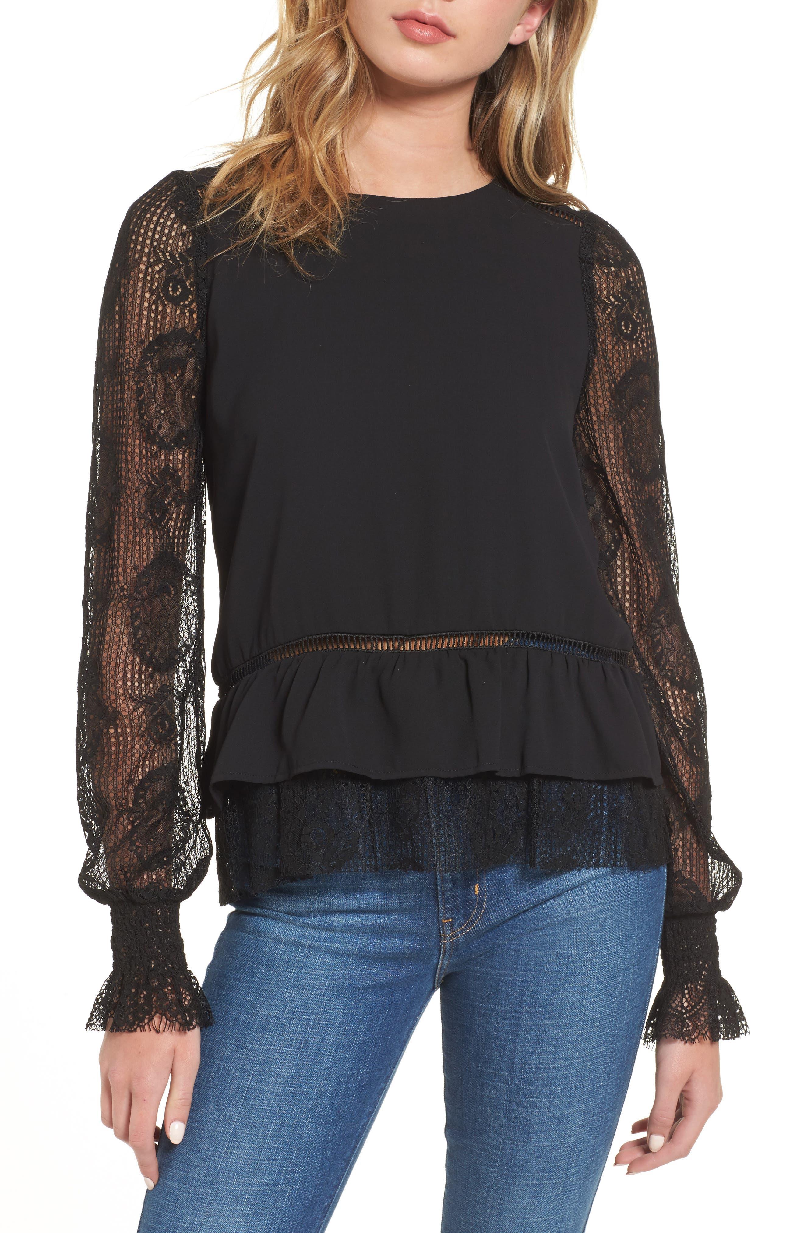 Ruffle Hem Lace Sleeve Top,                         Main,                         color, Black