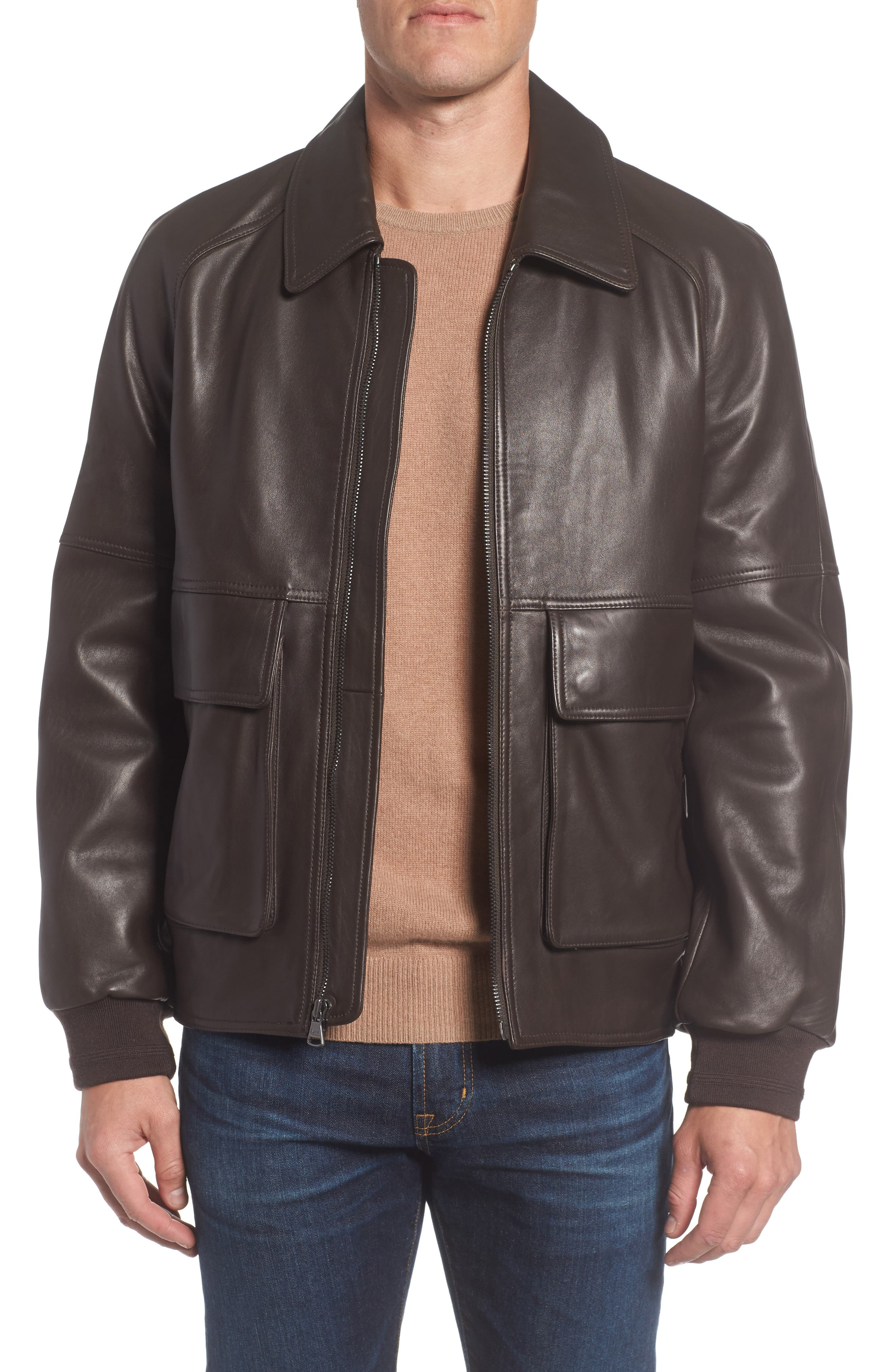 Alternate Image 1 Selected - Andrew Marc Lambskin Leather Aviator Jacket