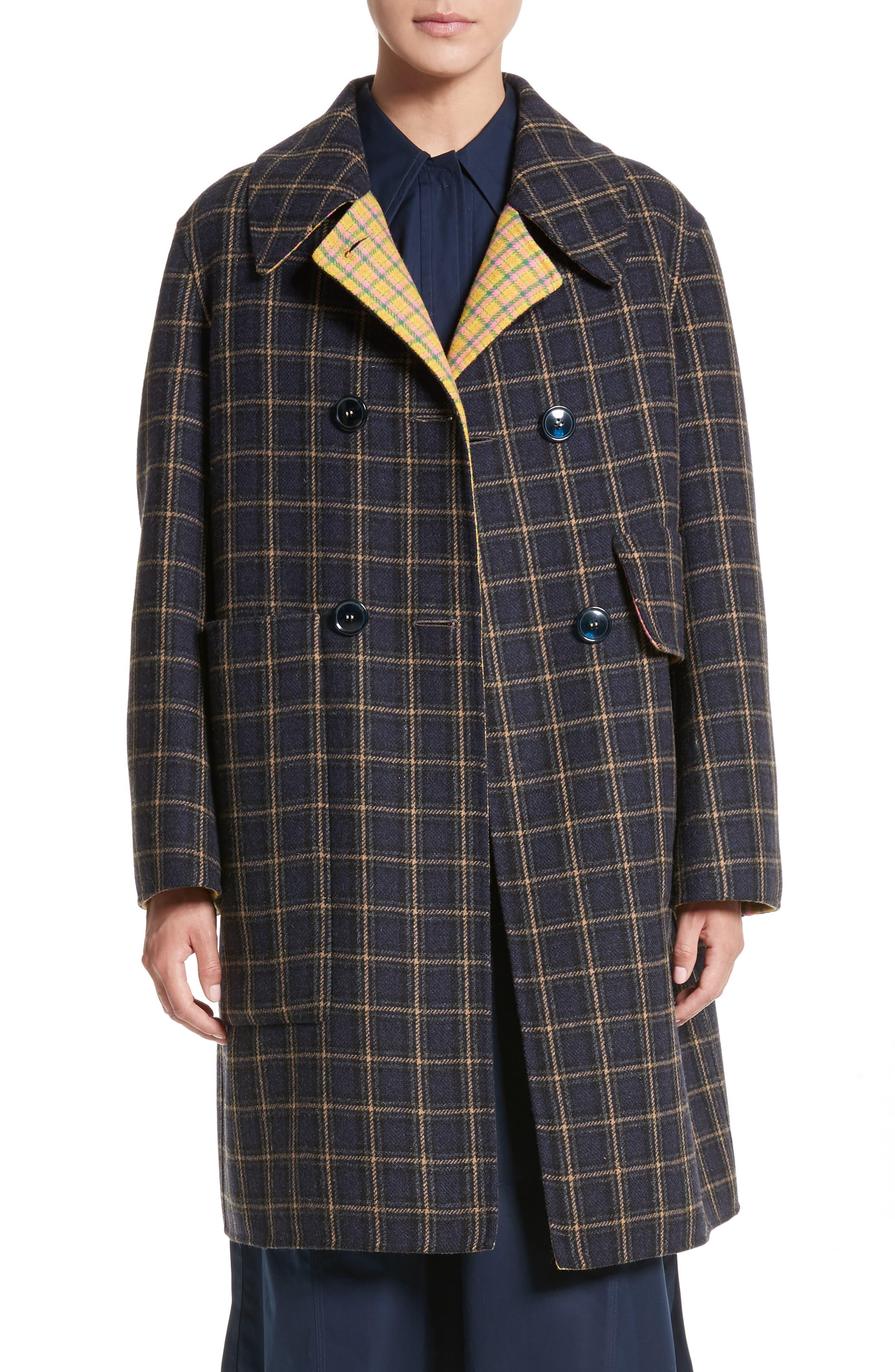 Plaid Wool Blend Car Coat,                         Main,                         color, Cinders