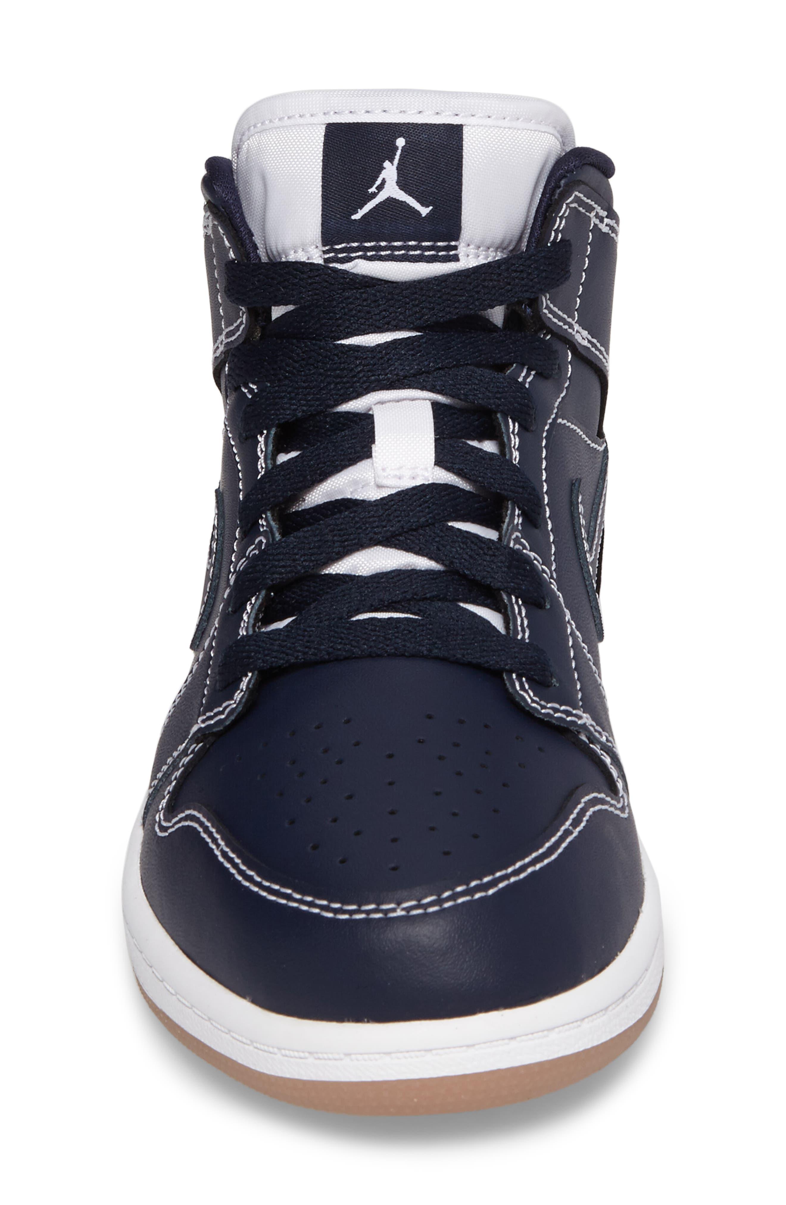 'Air Jordan 1' Mid Sneaker,                             Alternate thumbnail 4, color,                             Obsidian/ White
