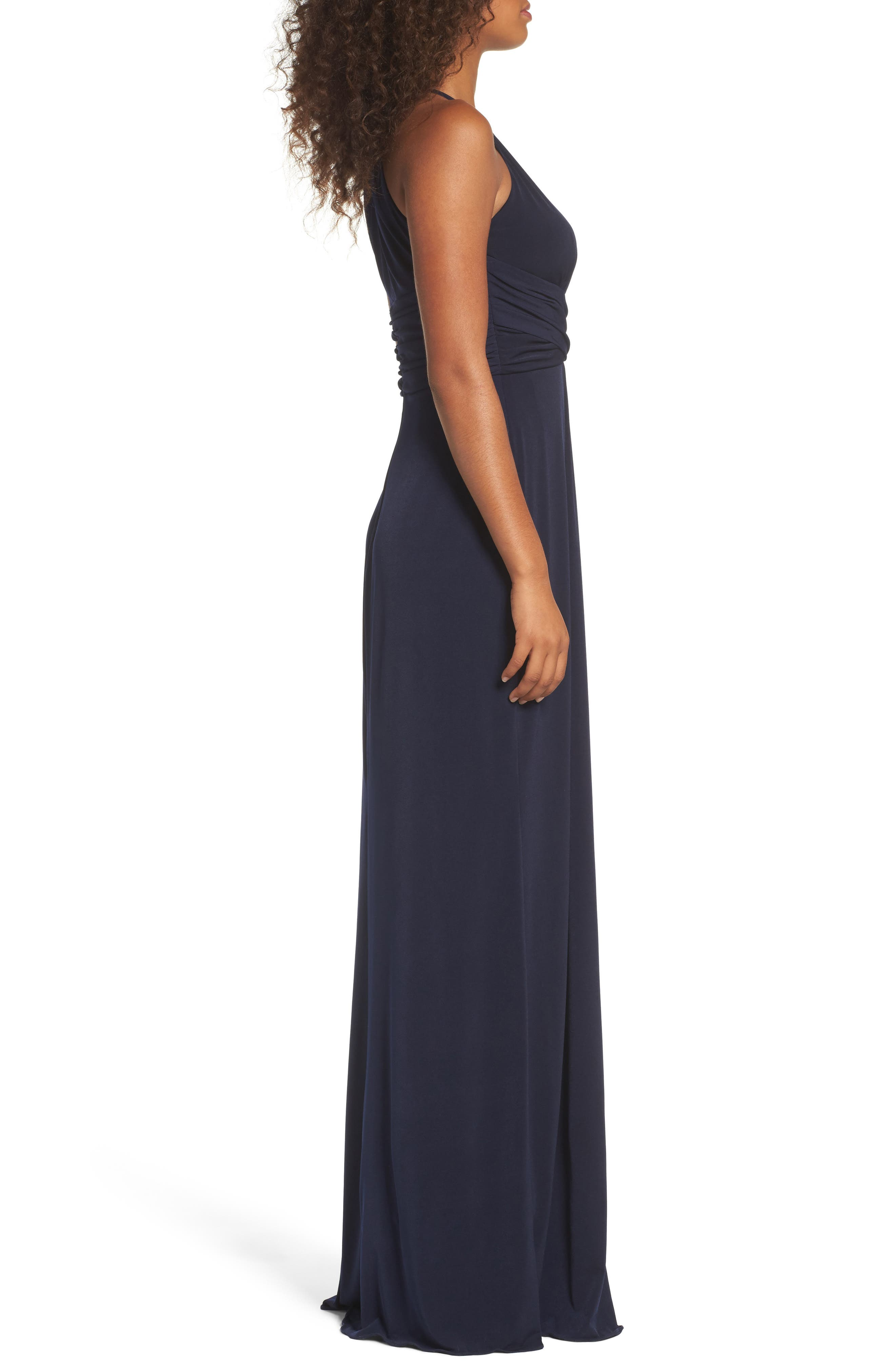 Jones Ruched Halter Gown,                             Alternate thumbnail 3, color,                             Navy