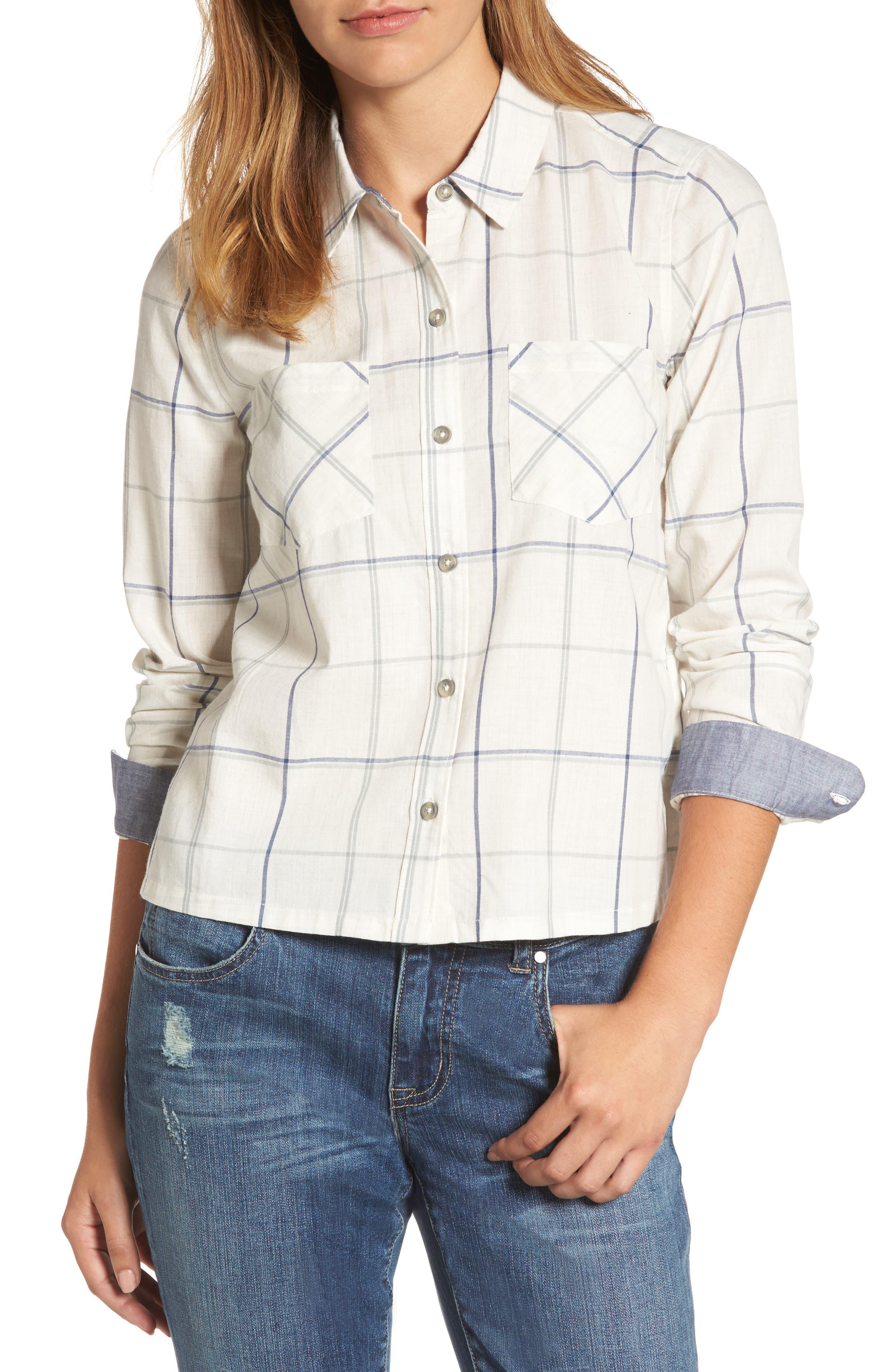 Plaid Shirt,                             Main thumbnail 1, color,                             Natural Multi