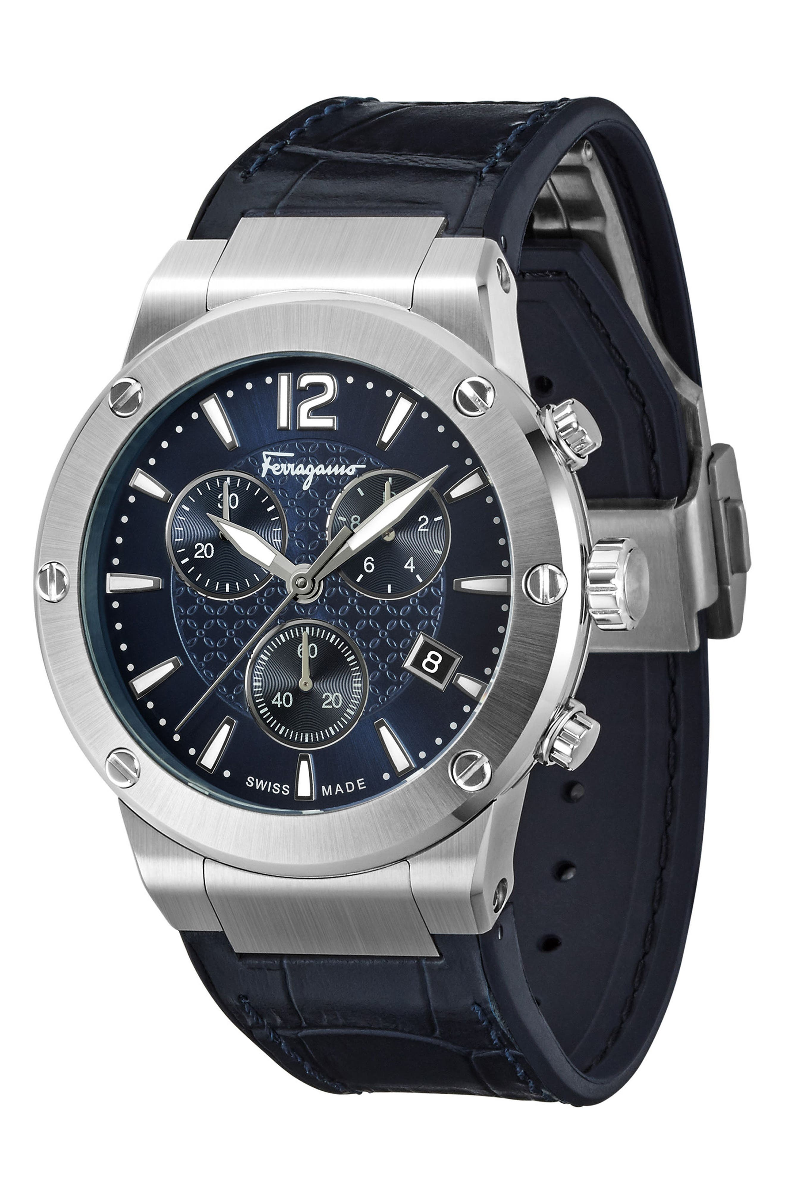 F80 Chronograph Leather Strap Watch, 44mm,                             Main thumbnail 1, color,                             Navy/ Silver