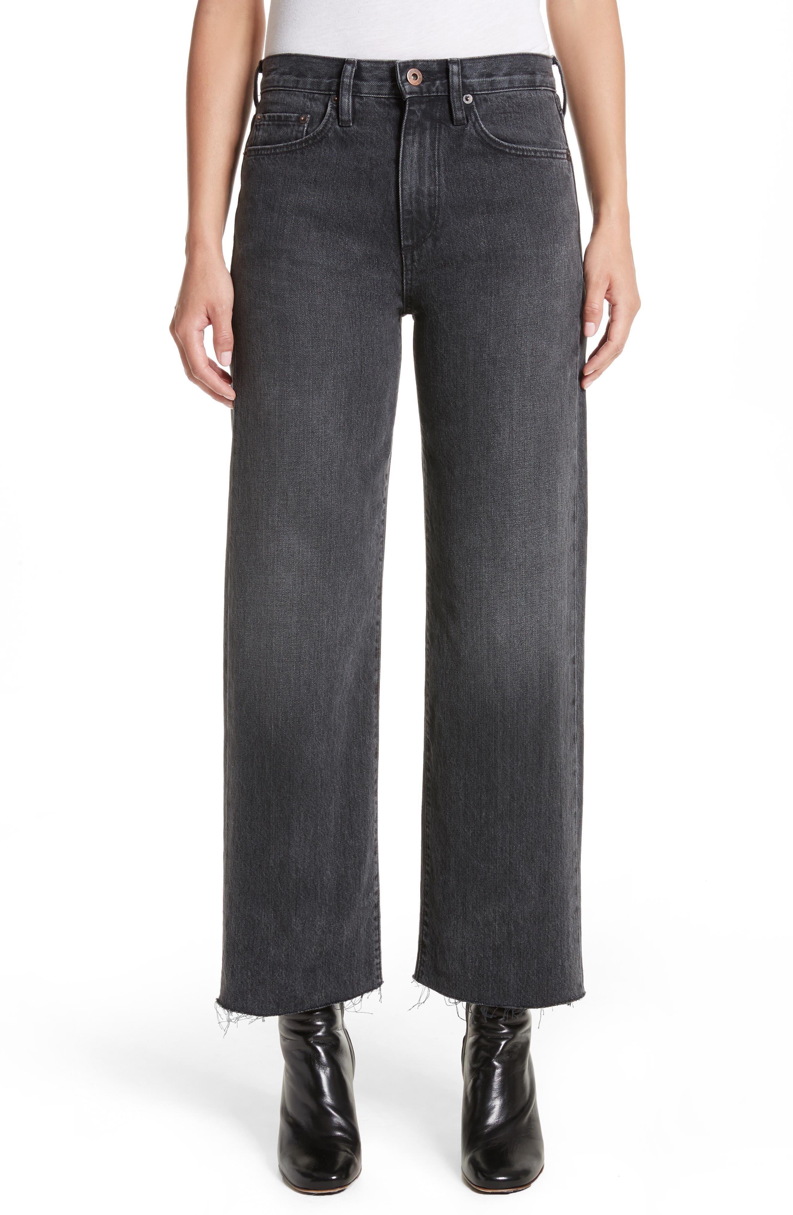 Tilson Crop Frayed Wide Leg Jeans,                         Main,                         color, Mid Black Wash