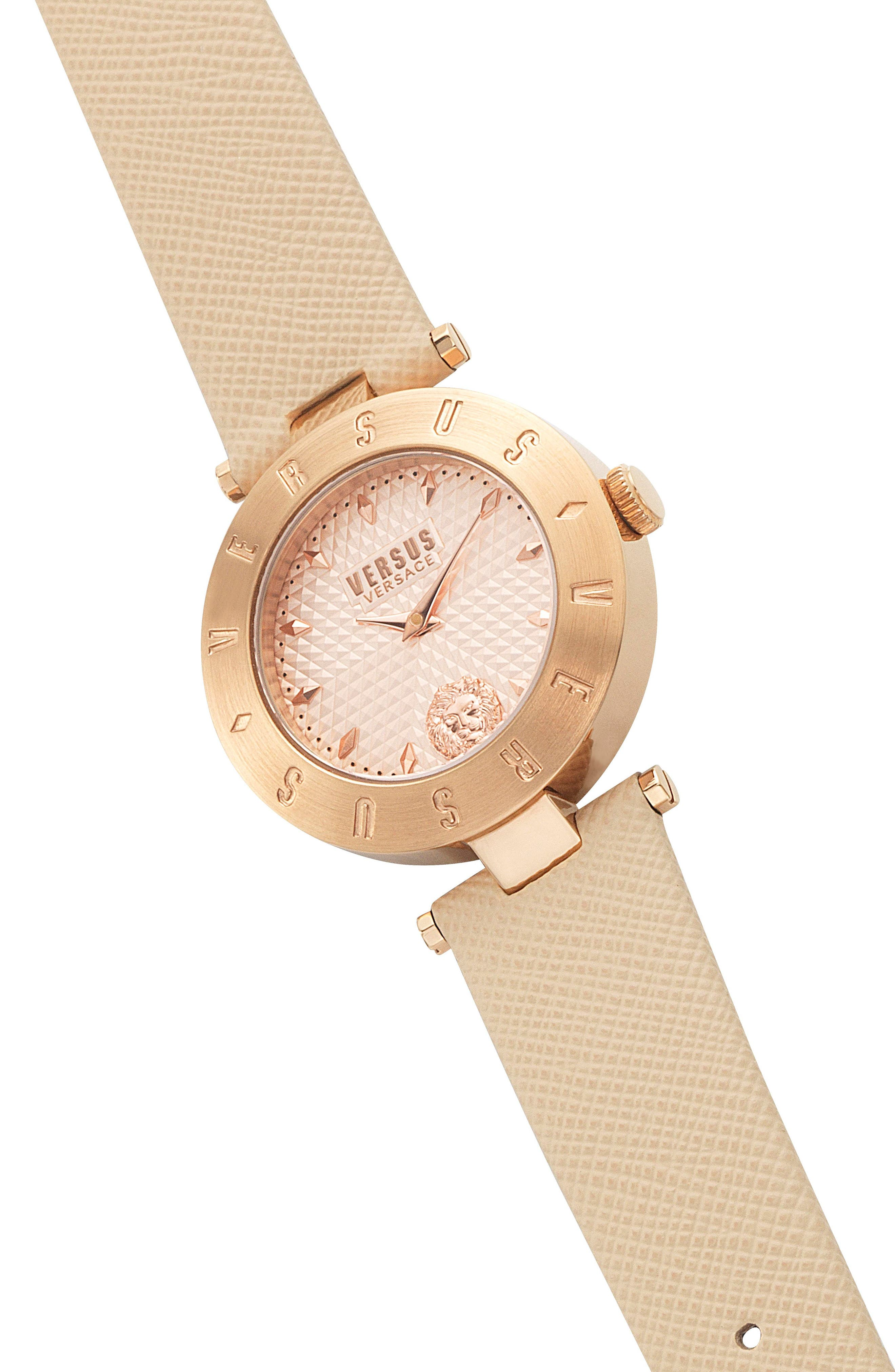 Versus by Versace New Logo Leather Strap Watch, 34mm,                             Alternate thumbnail 3, color,                             Beige/ Rose Gold