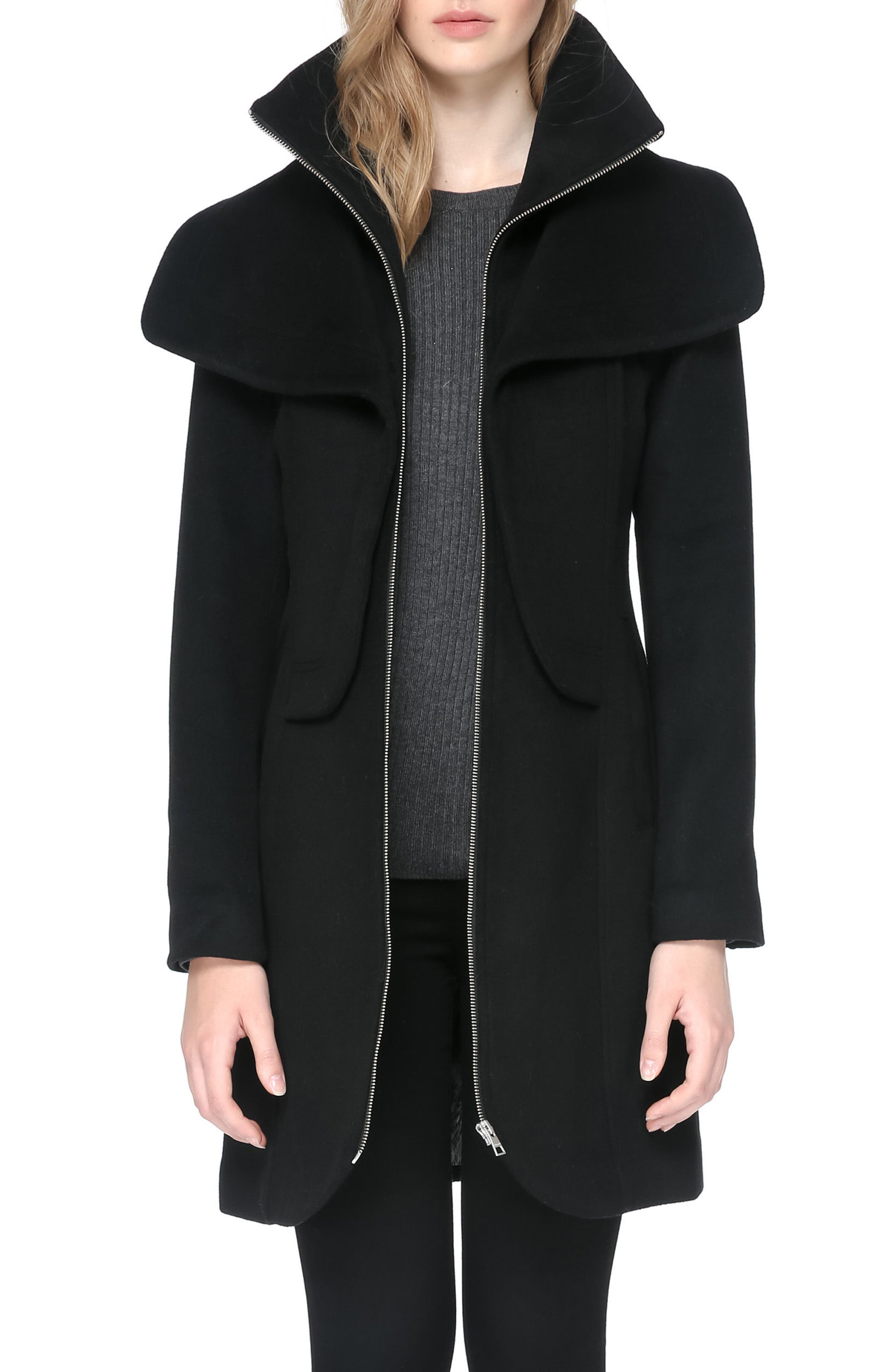 Hooded Trench,                         Main,                         color, Black
