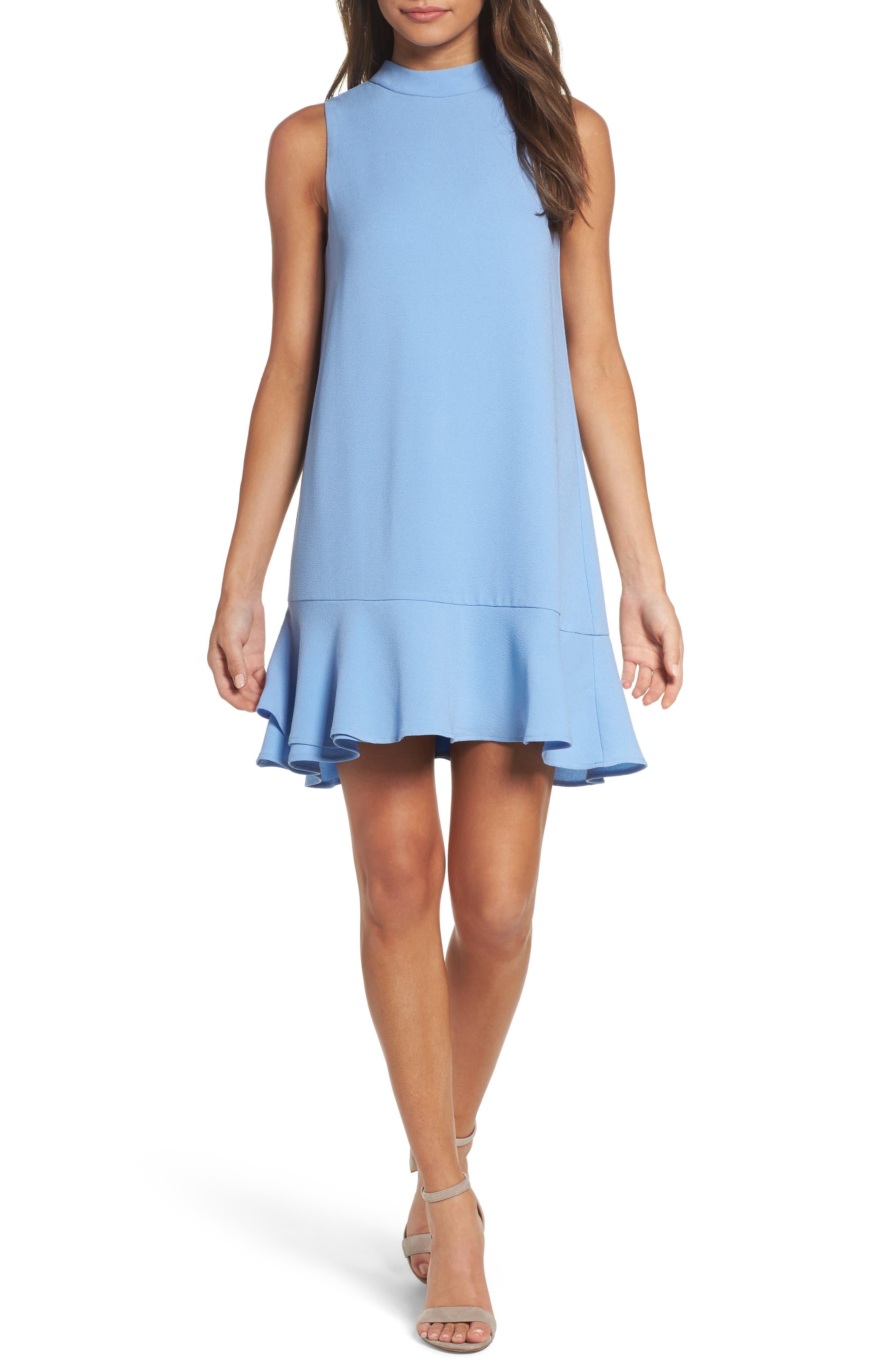 Charles Hem Ruffle Shift Dress,                         Main,                         color, Sky