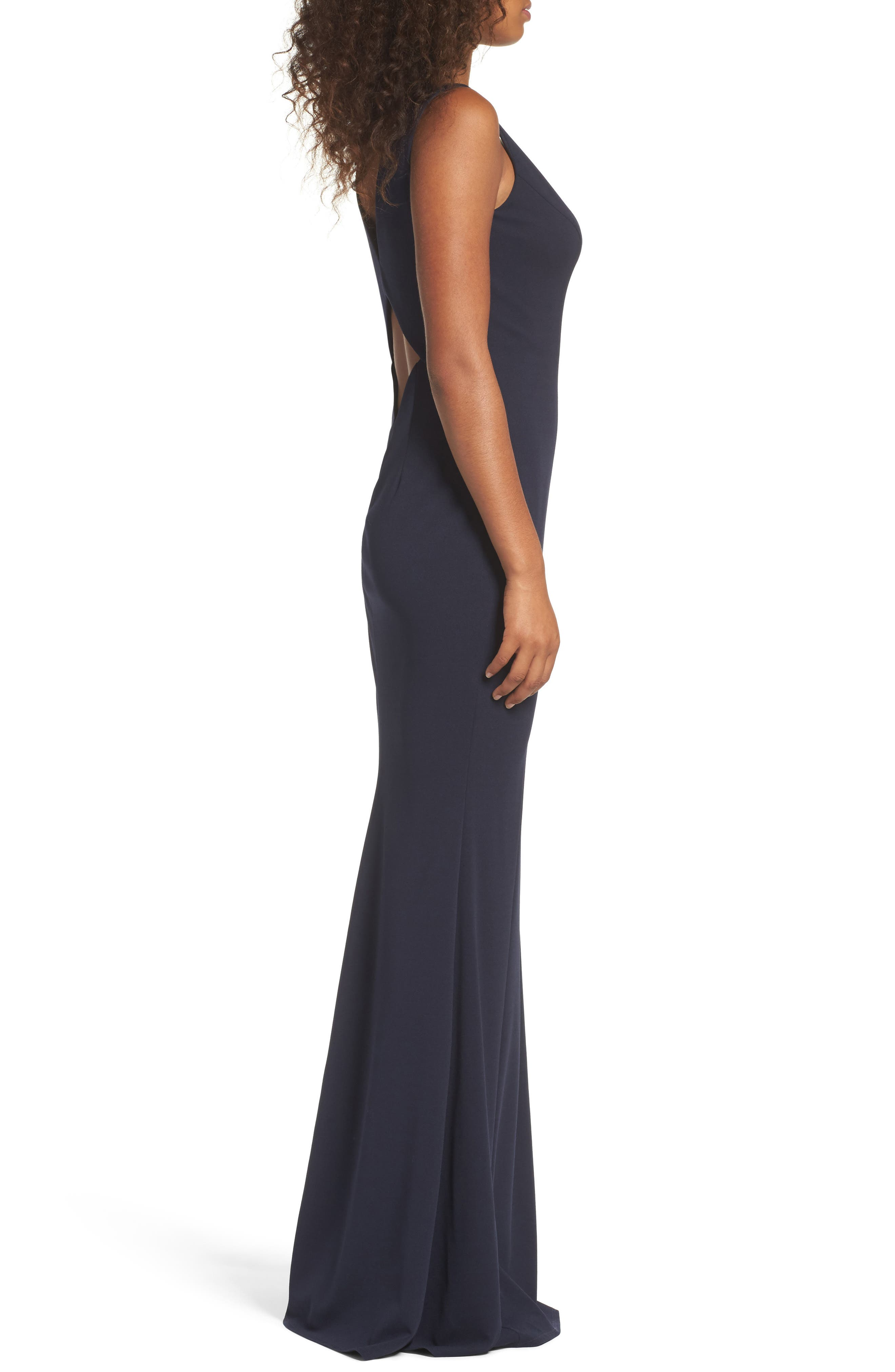 Mischka V-Neck Crepe Gown,                             Alternate thumbnail 3, color,                             Navy