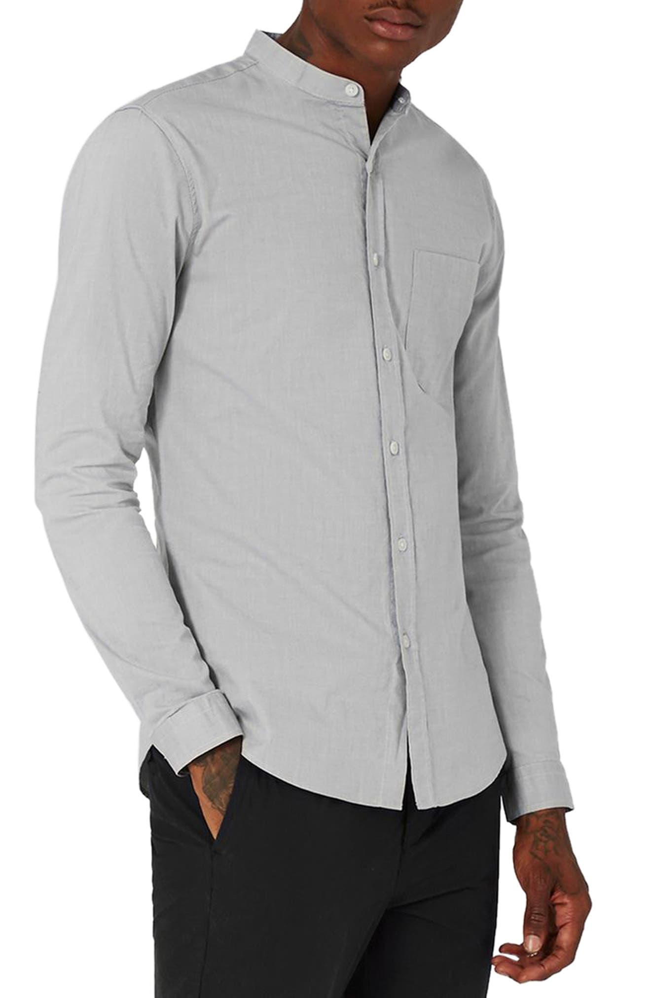Main Image - Topman Muscle Fit Stretch Oxford Shirt