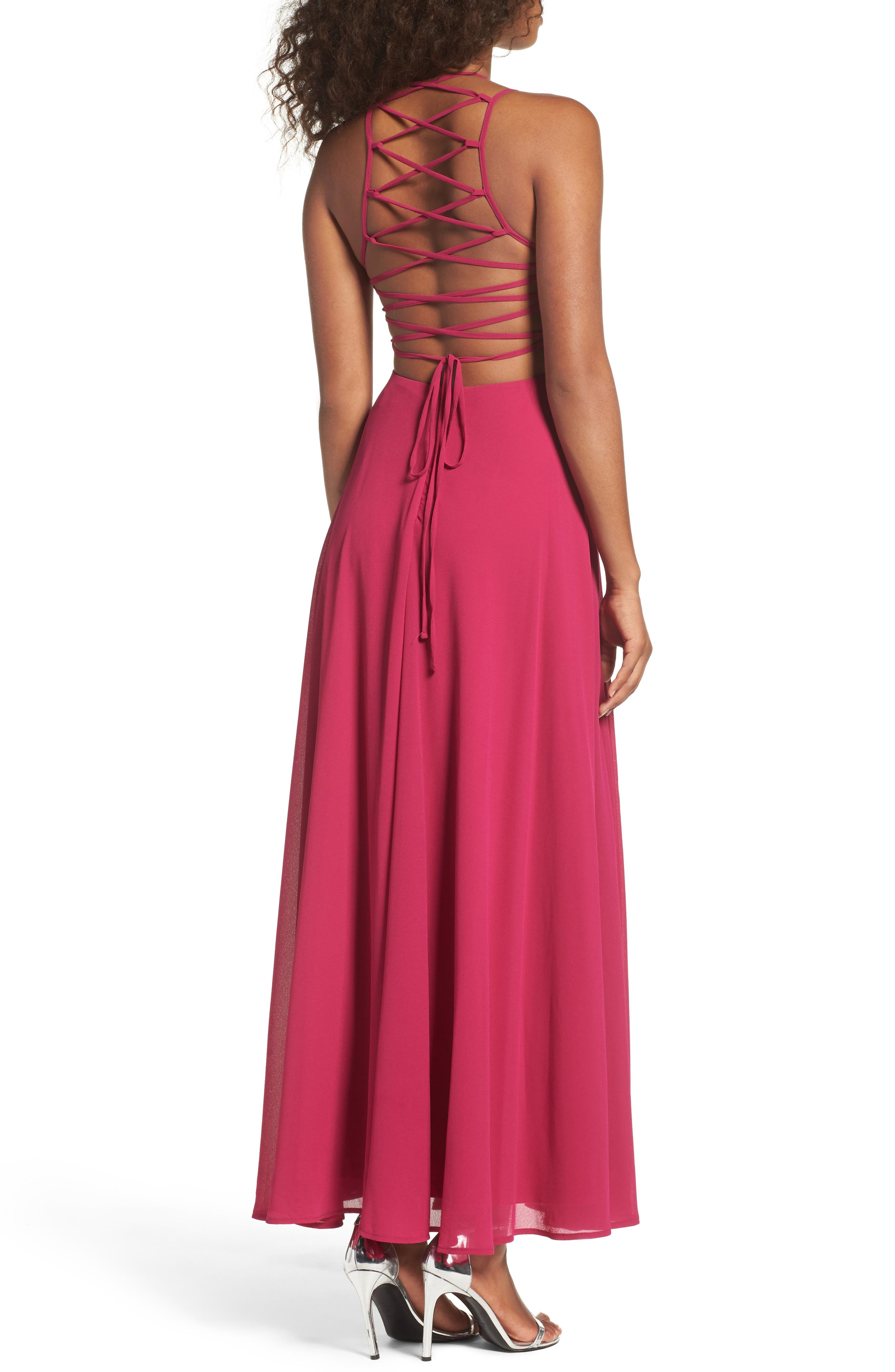 Alternate Image 2  - Lulus Strappy To Be Here Lace-Up Back Gown