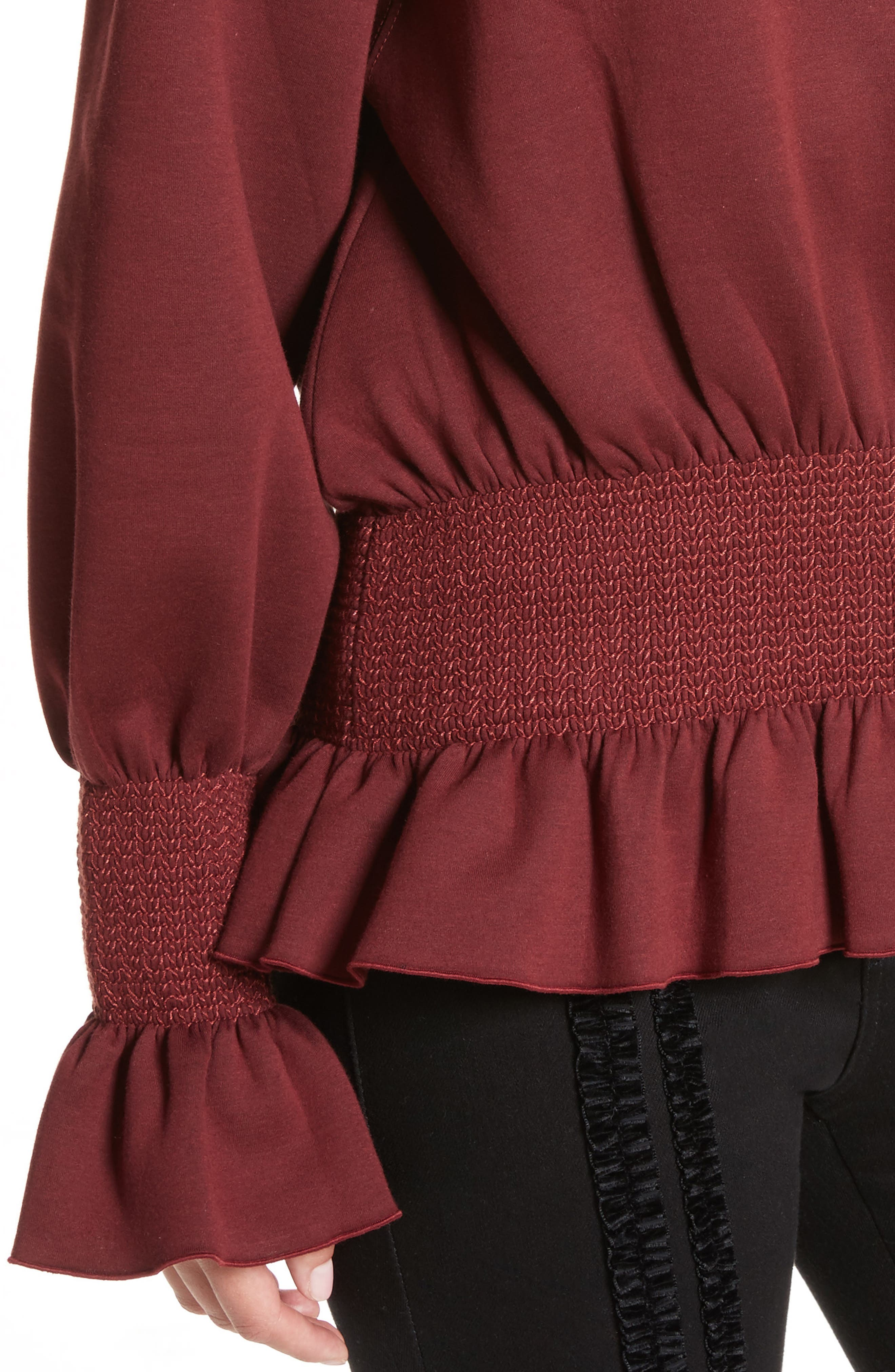 Ruched Ruffle Waist Sweatshirt,                             Alternate thumbnail 4, color,                             Dark Burgundy