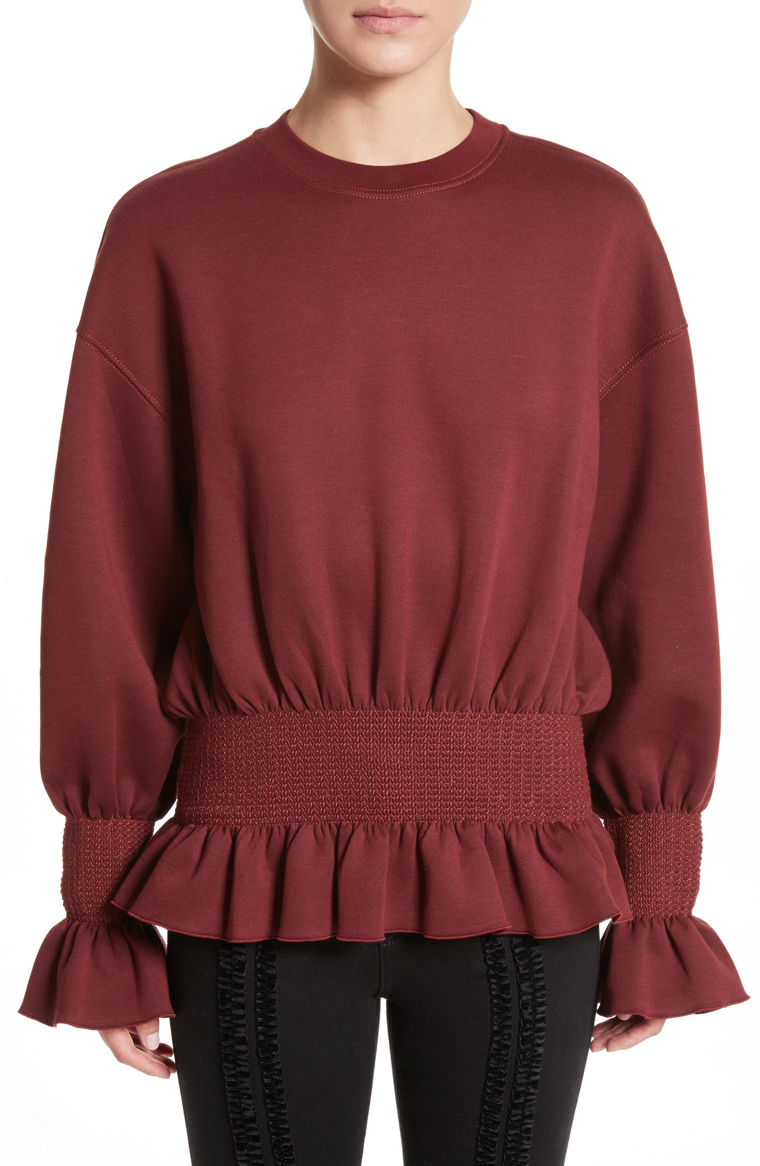 Ruched Ruffle Waist Sweatshirt,                             Main thumbnail 1, color,                             Dark Burgundy