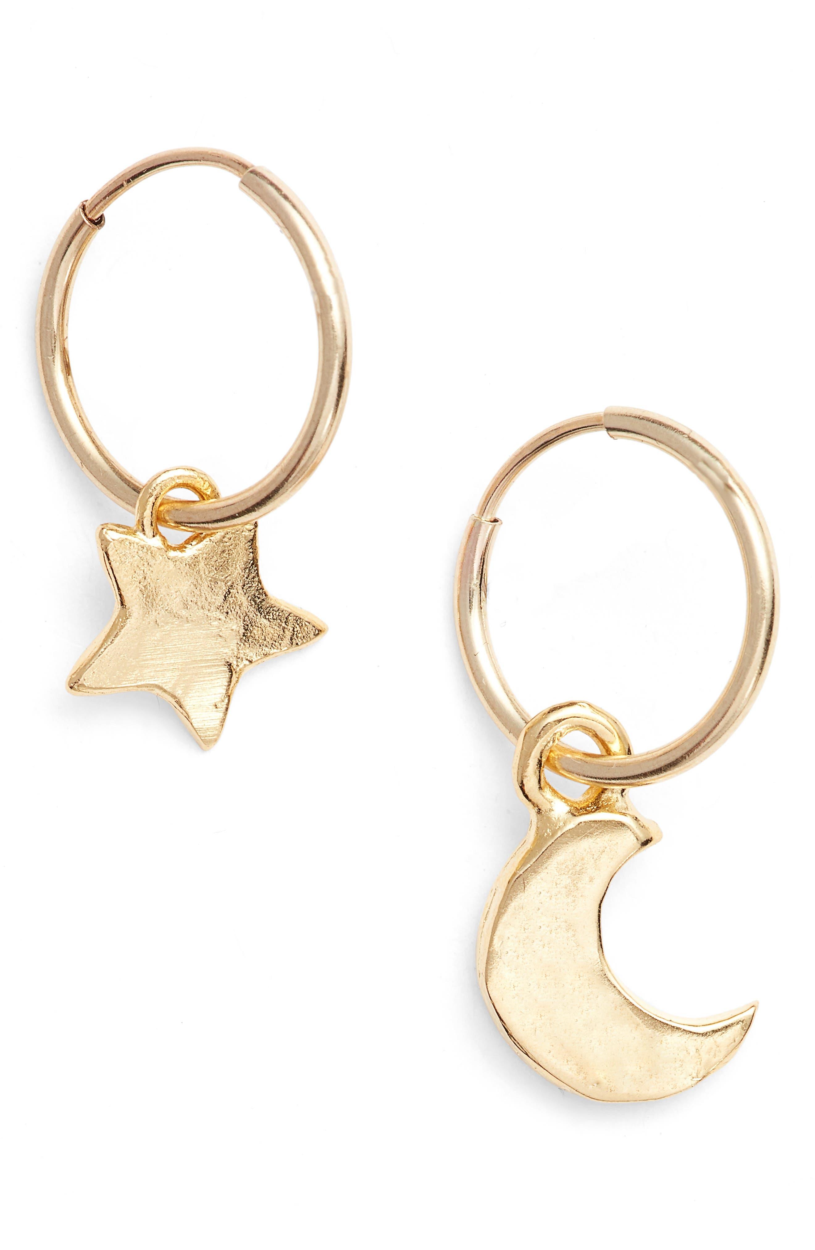 Alternate Image 1 Selected - Britt Bolton Moon & Star Drop Earrings