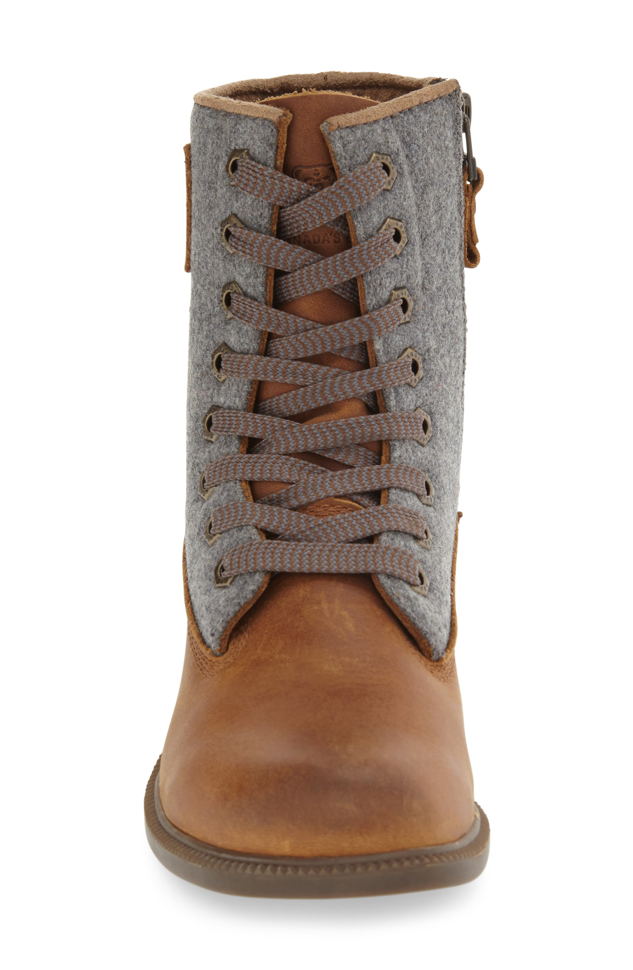 'Addison' Waterproof Insulated Zip Boot,                             Alternate thumbnail 3, color,                             Caramel/ Grey Leather