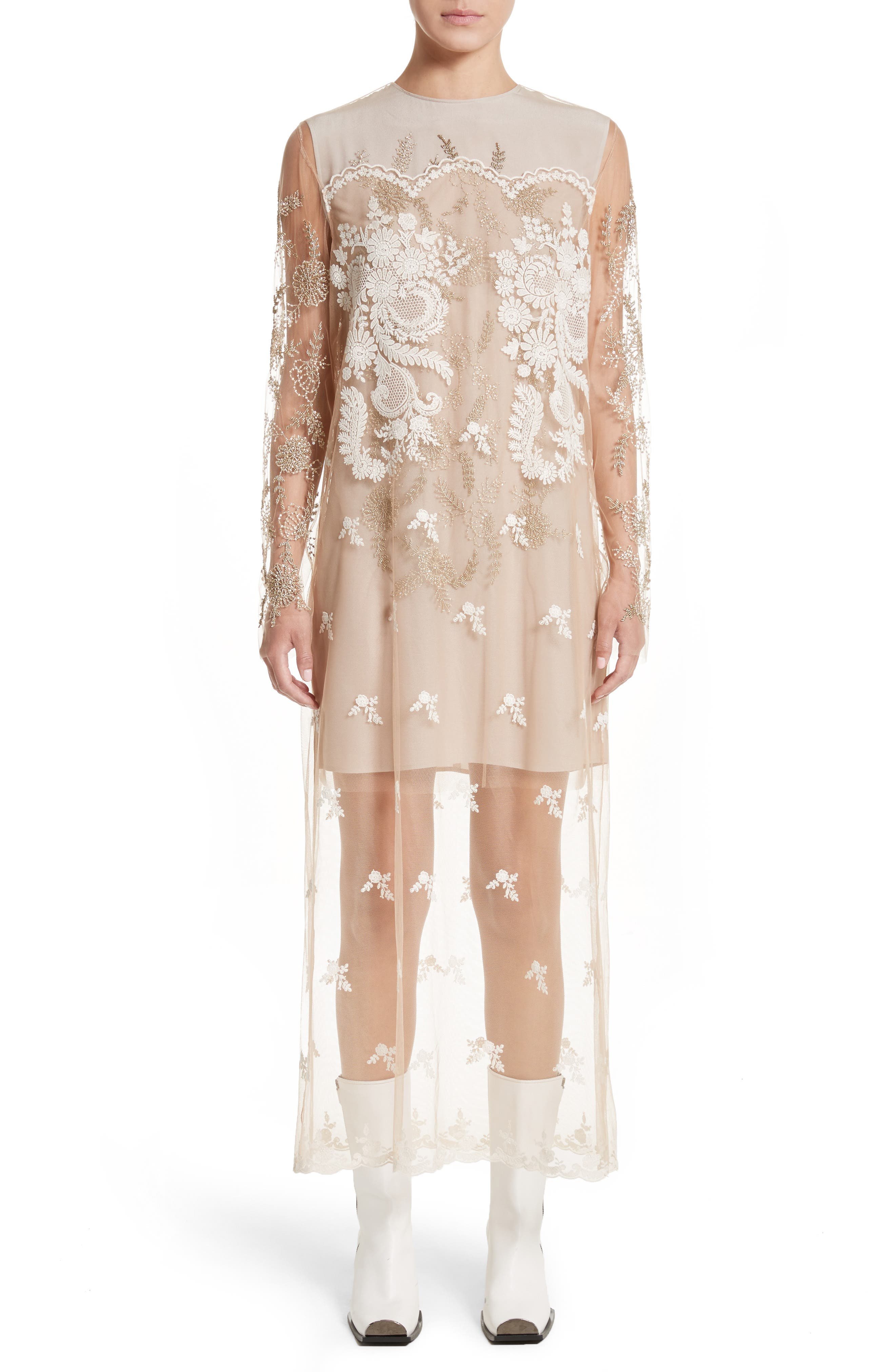Embroidered Tulle Lace Dress,                         Main,                         color, Camel