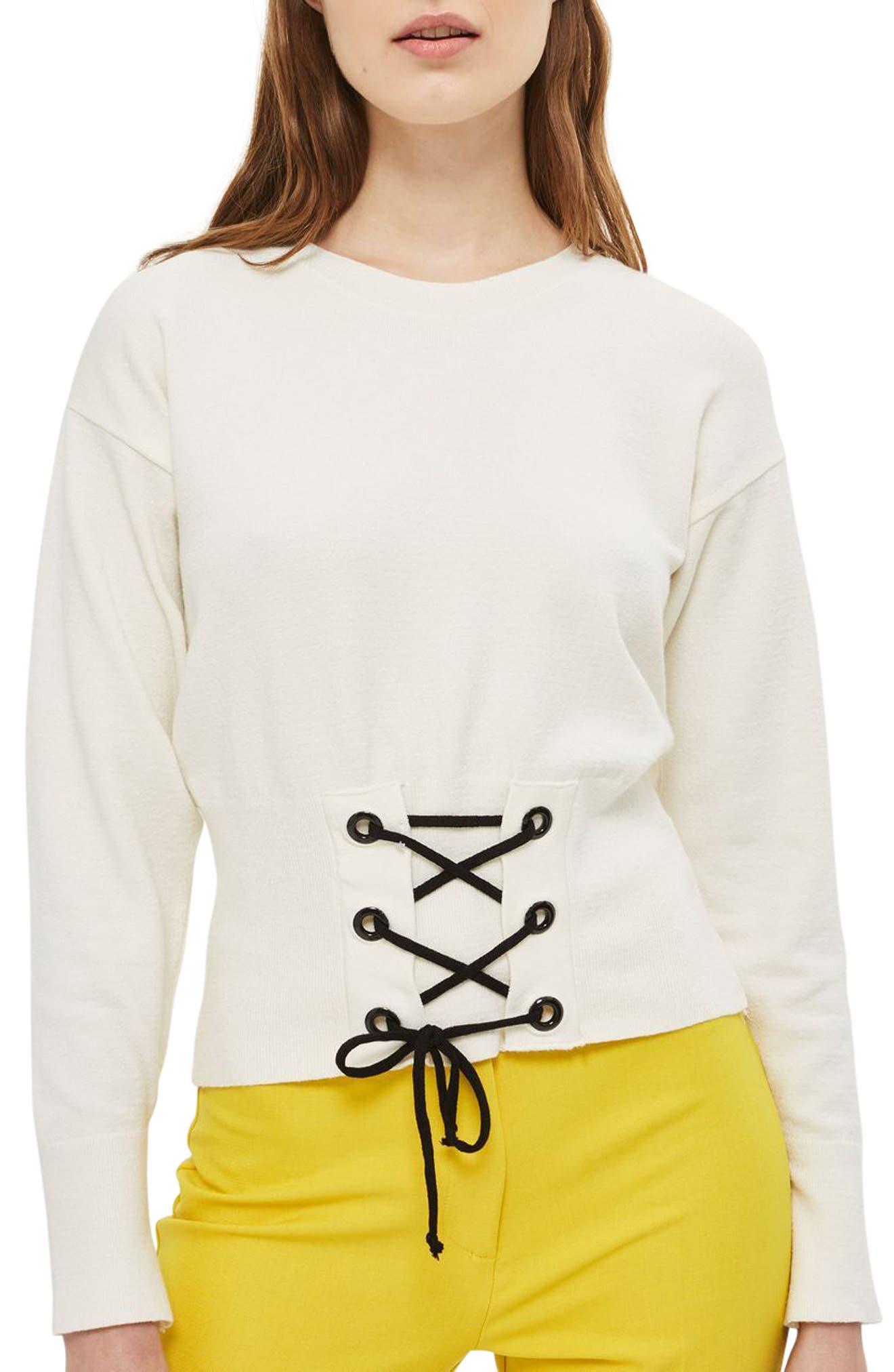 Main Image - Topshop Corset Front Sweater (Petite)