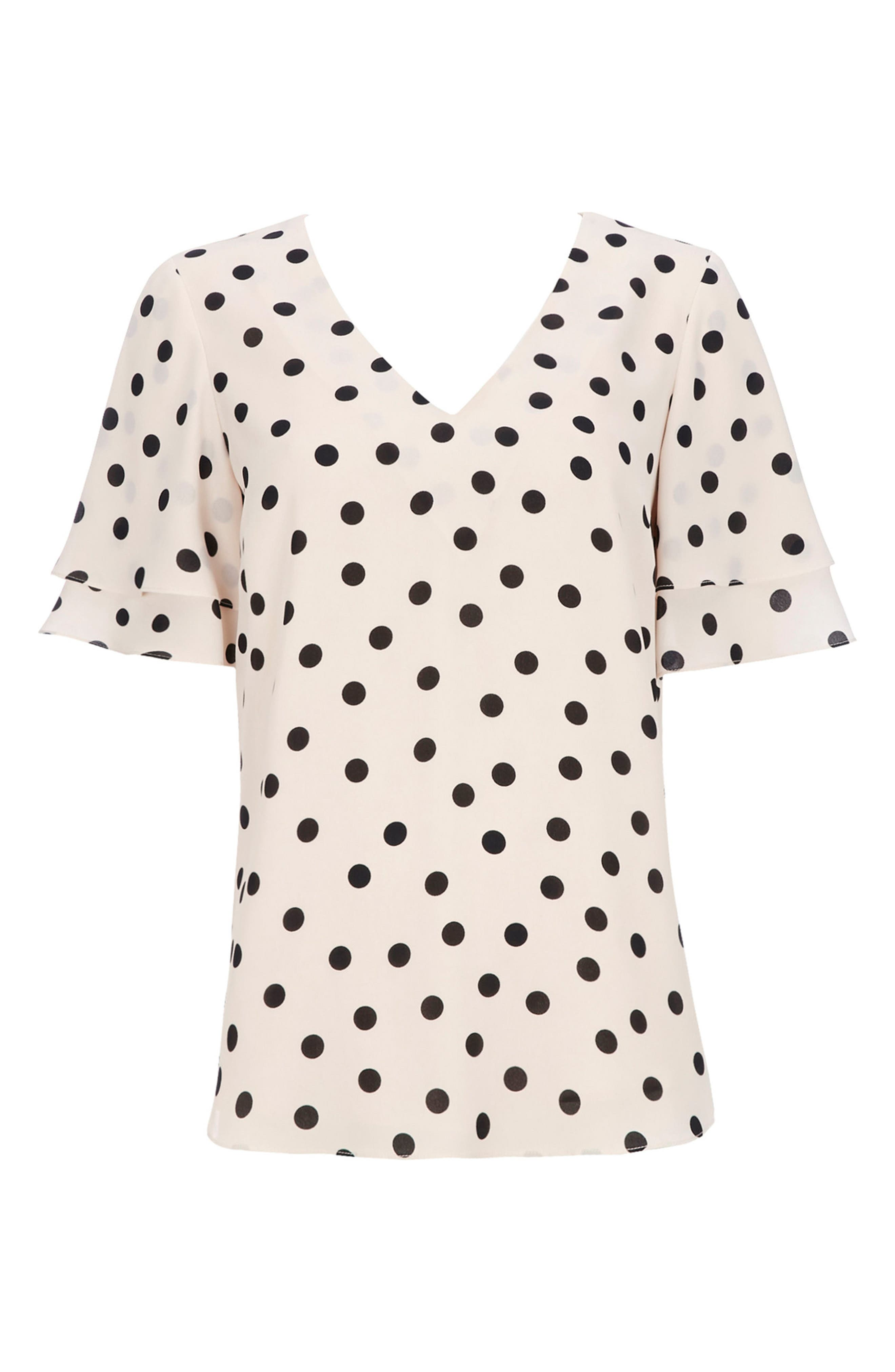 Spot Double Sleeve Top,                             Alternate thumbnail 5, color,                             Ivory/ Black