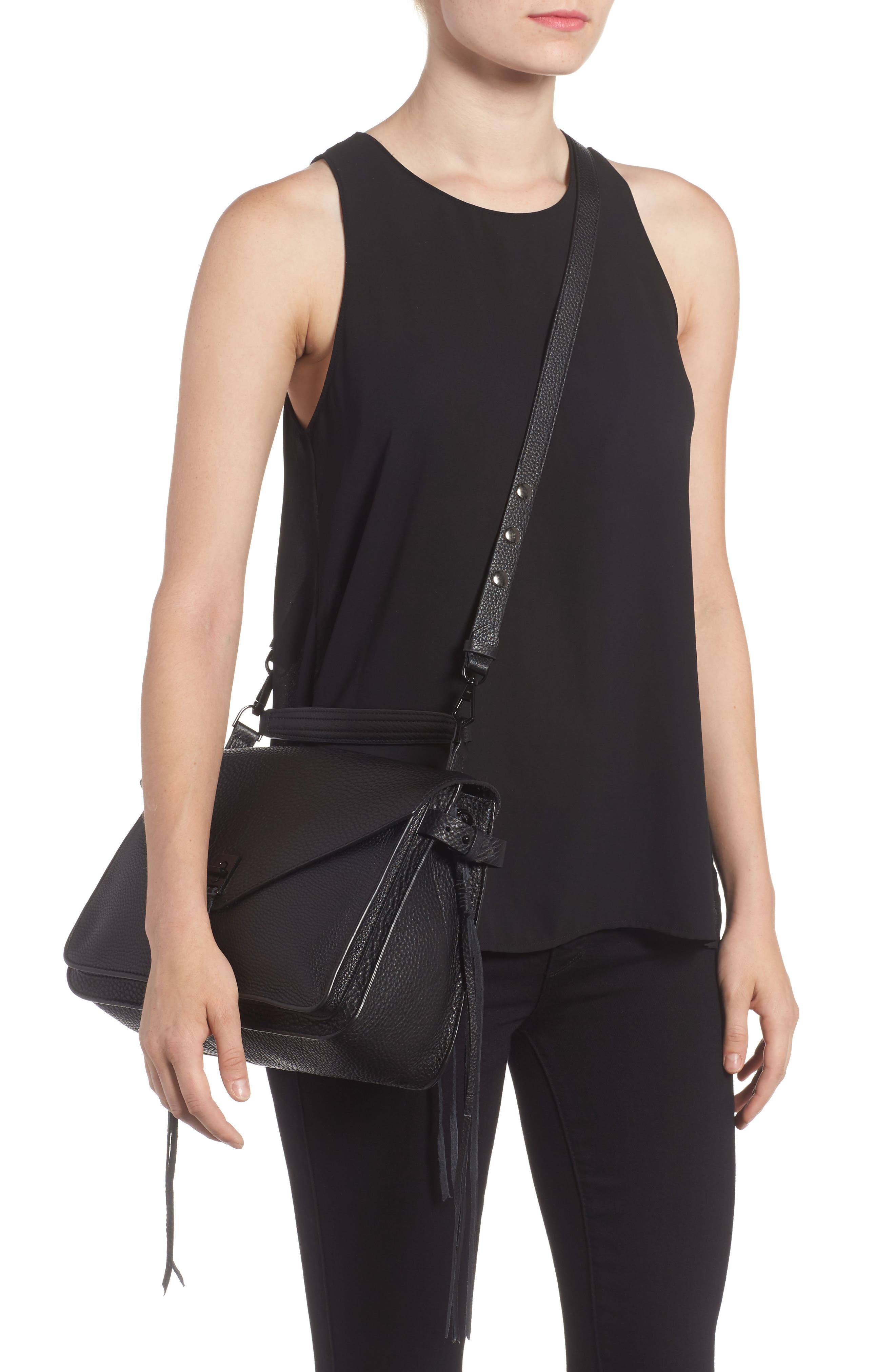 Darren Leather Messenger Bag,                             Alternate thumbnail 2, color,                             Black