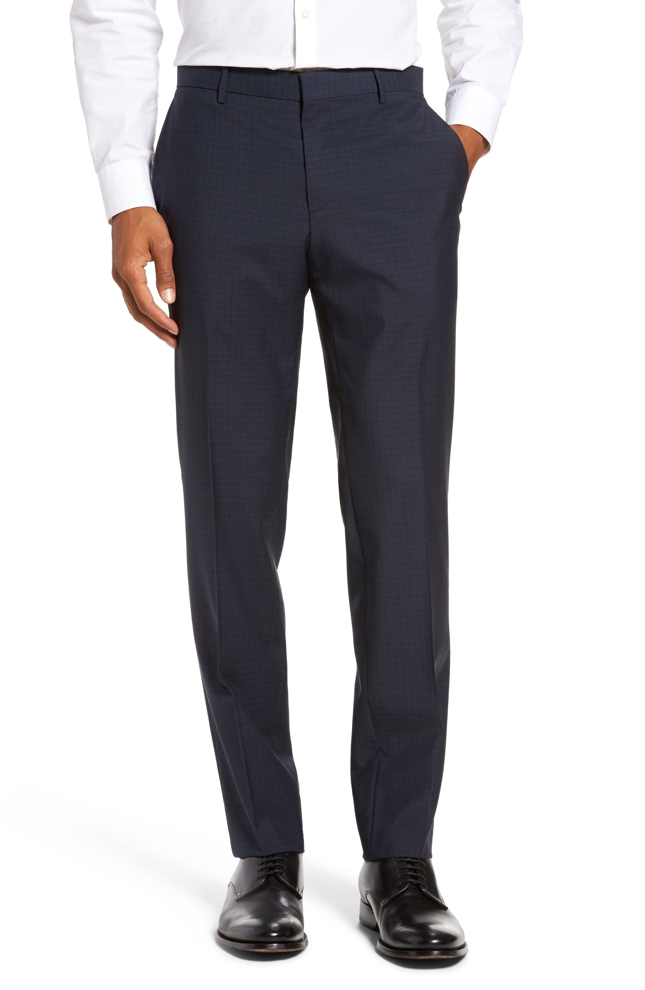 Benso Flat Front Check Wool Trousers,                         Main,                         color, Navy