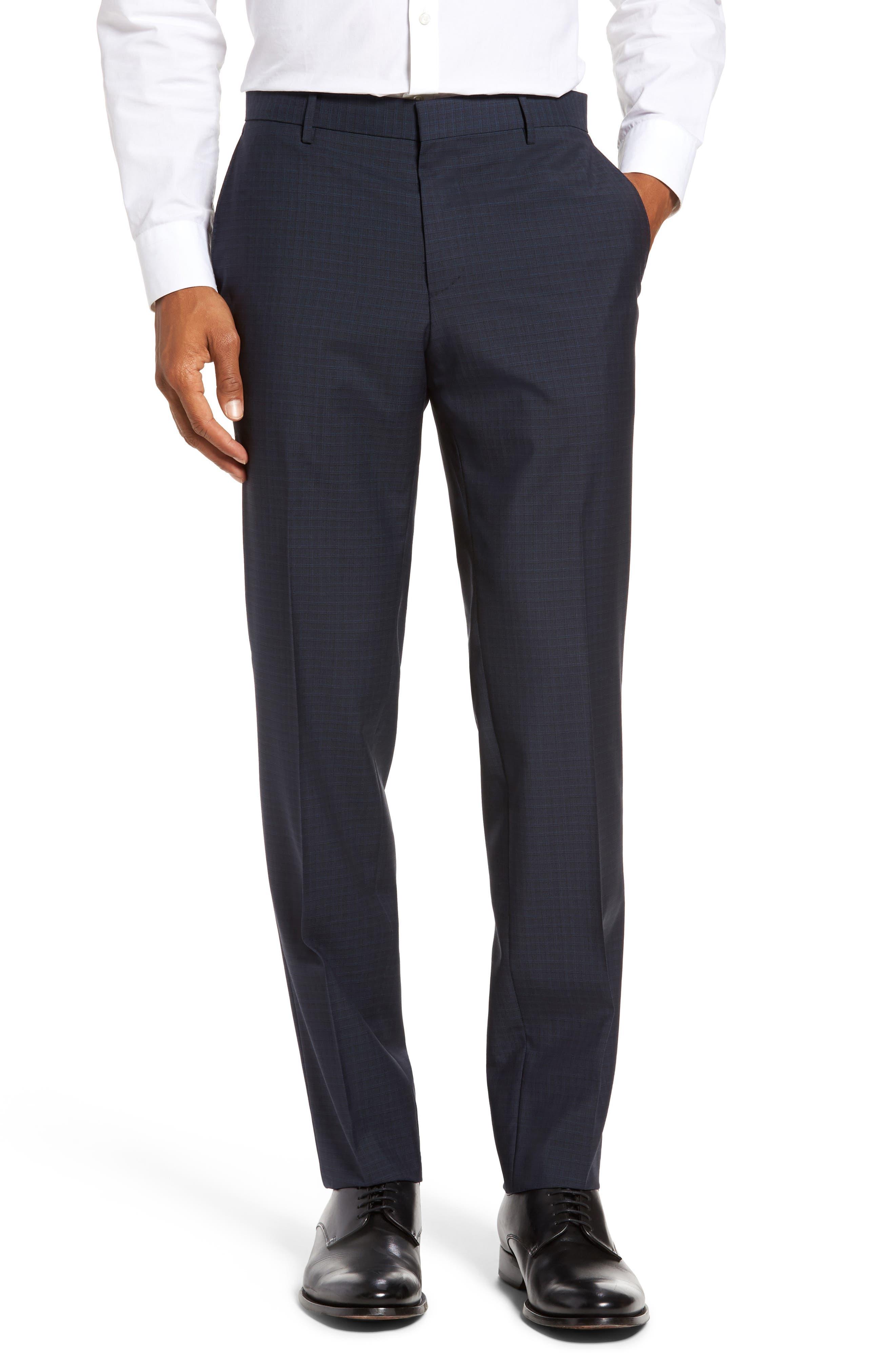 BOSS Benso Flat Front Check Wool Trousers