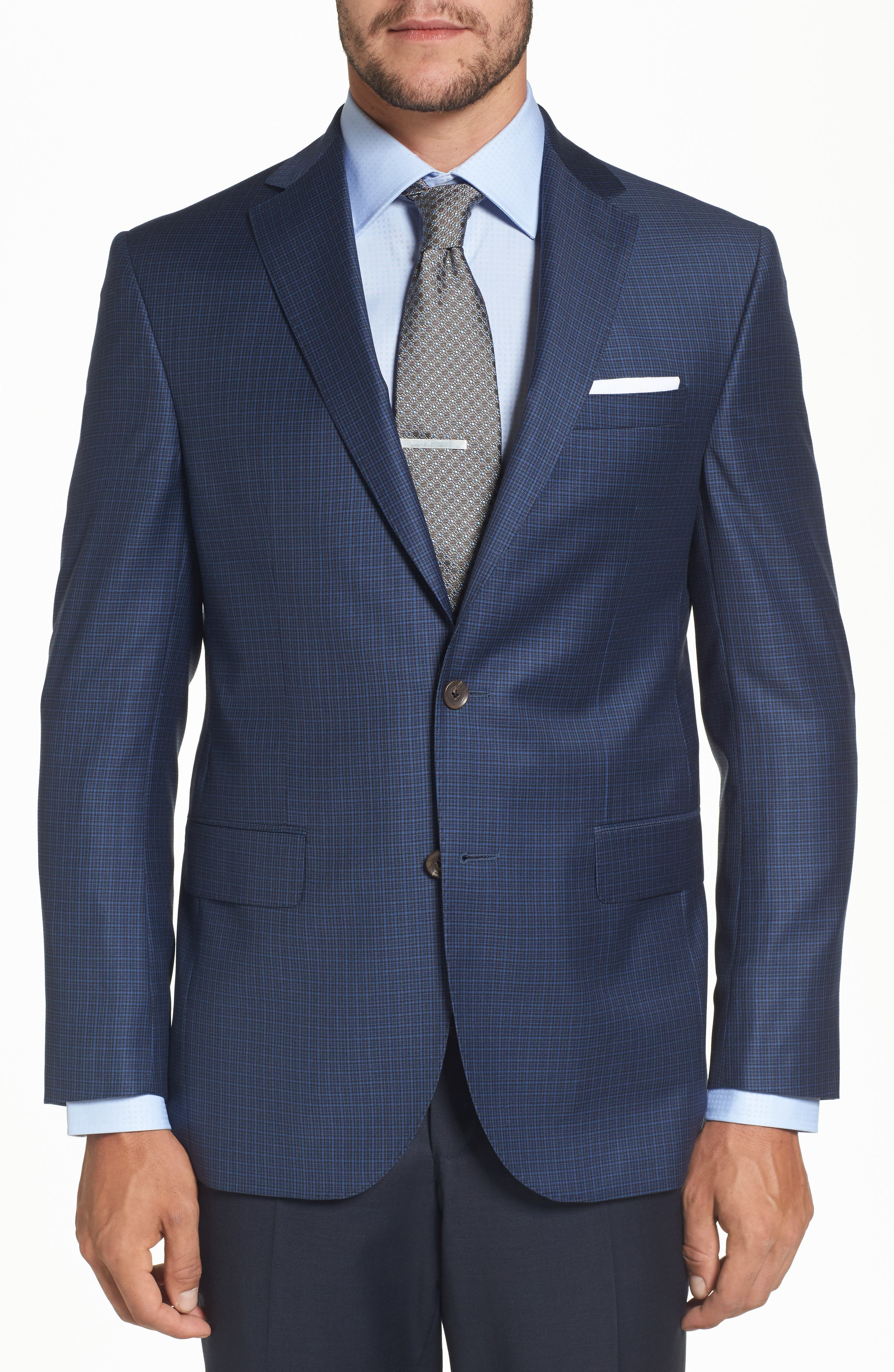 Connor Classic Fit Check Wool Sport Coat,                             Main thumbnail 1, color,                             Blue