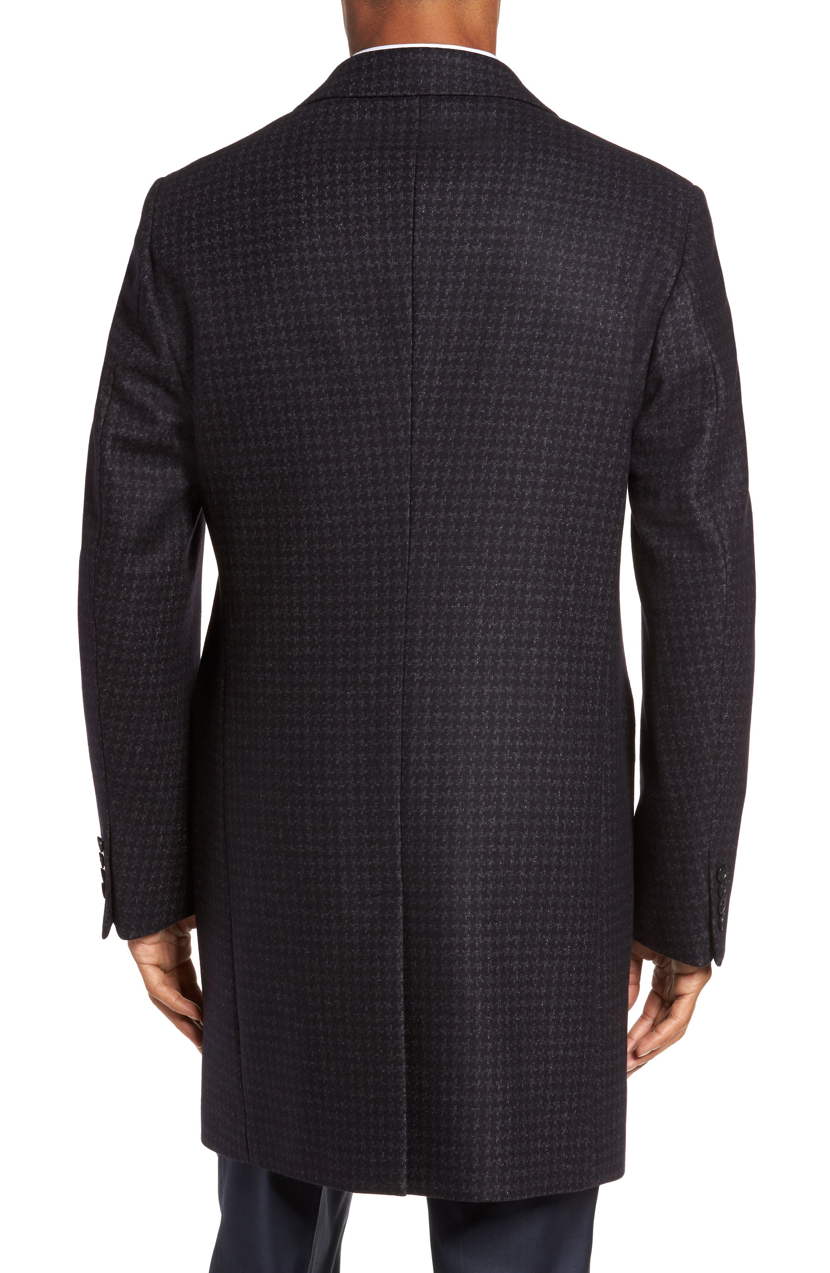 Jackson Houndstooth Wool Blend Overcoat,                             Alternate thumbnail 2, color,                             Navy