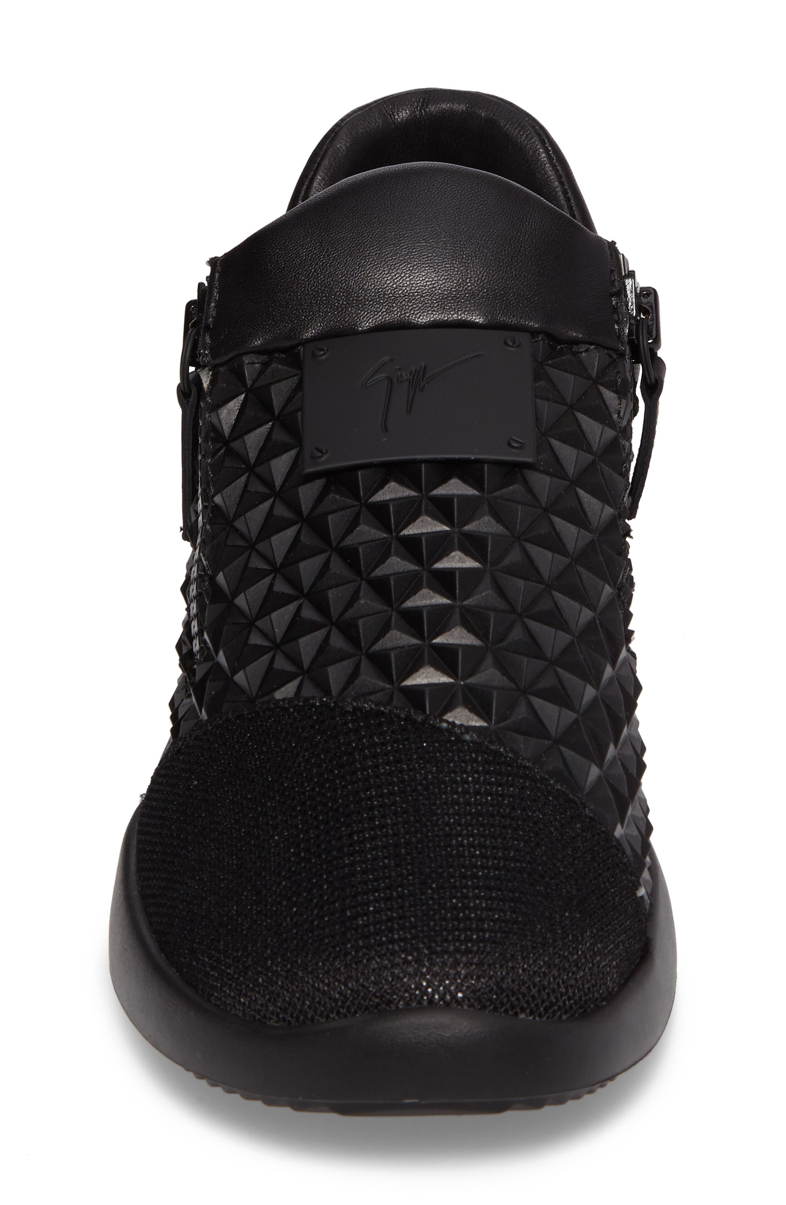 Geo Embossed Zip Sneaker,                             Alternate thumbnail 4, color,                             Nero