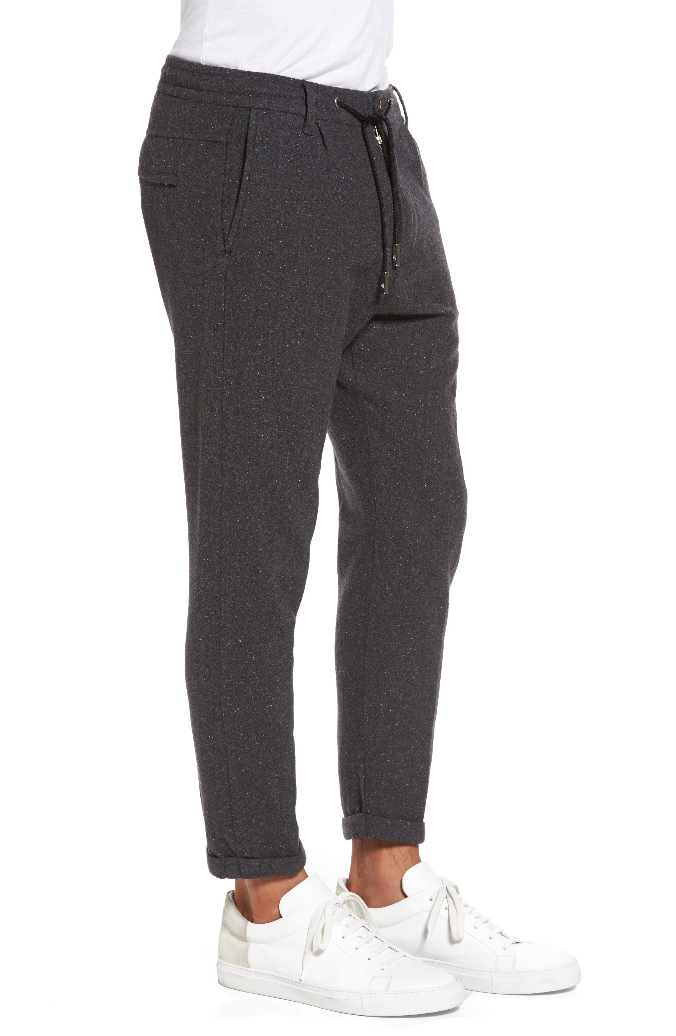 Donegal Stretch Wool Jogger Pants,                             Alternate thumbnail 3, color,                             Dark Grey