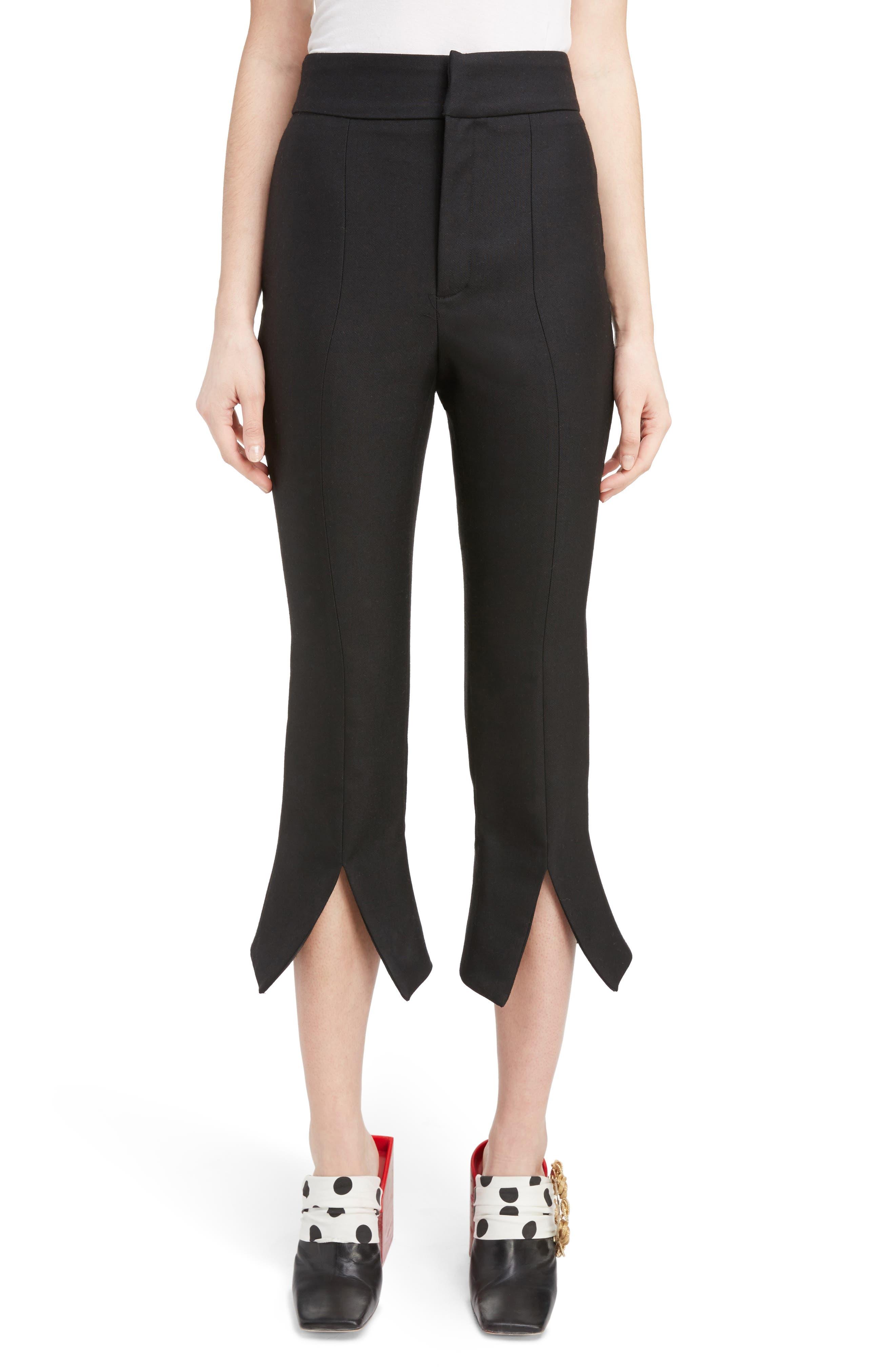 Slit Cuff Crop Flare Pants,                         Main,                         color, Black