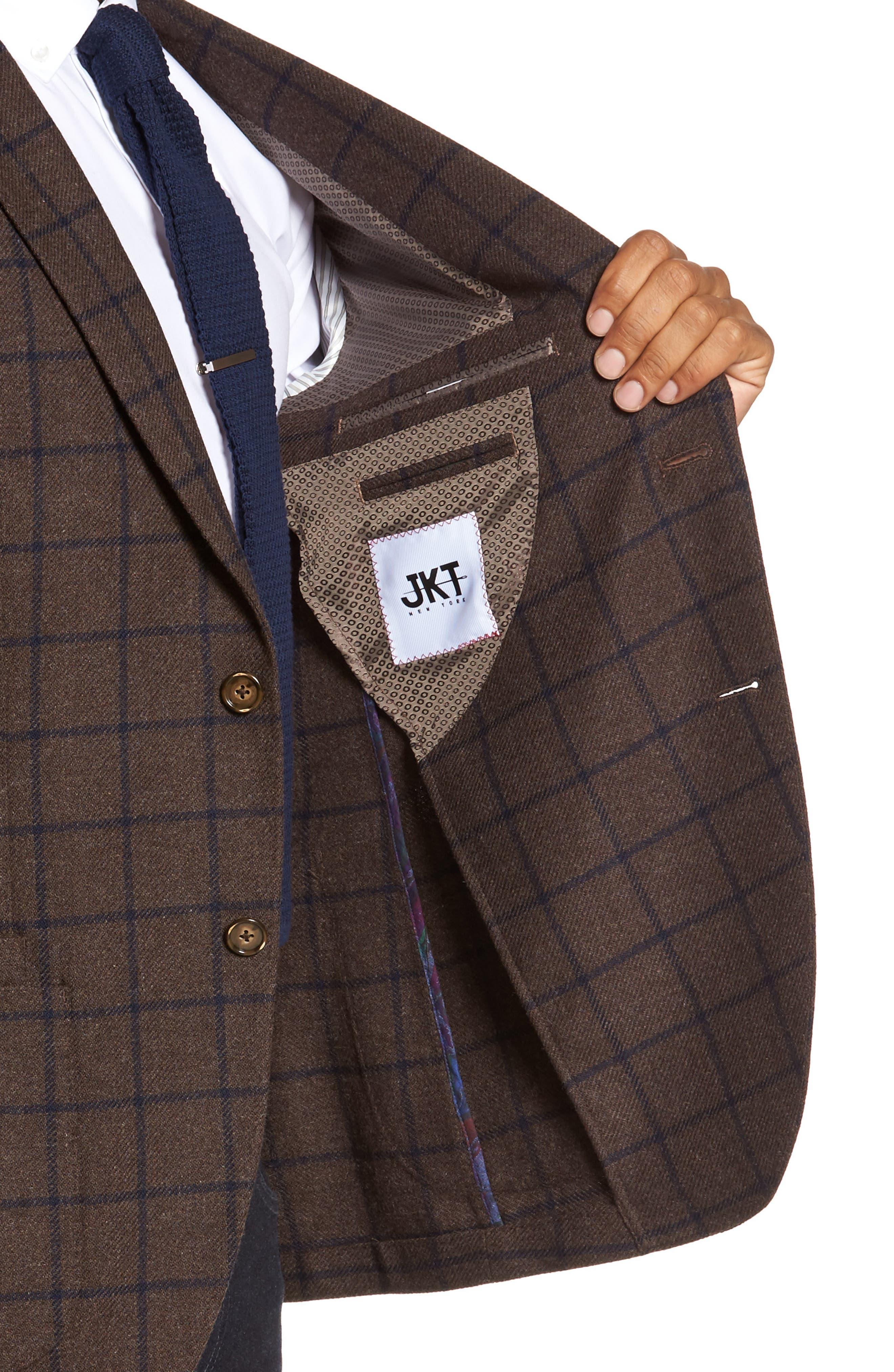Alternate Image 4  - JKT New York Trim Fit Windowpane Wool Blend Sport Coat