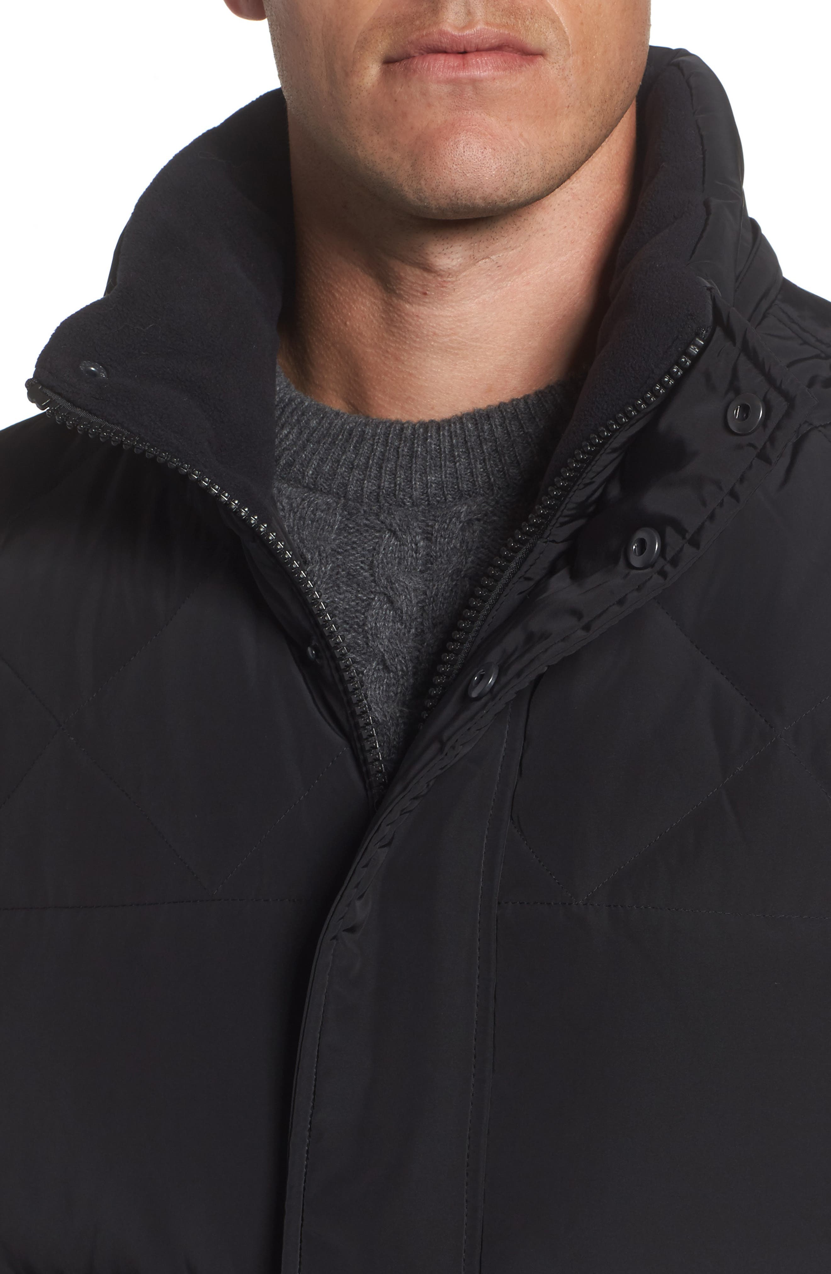 Insulated Jacket with Genuine Coyote Fur,                             Alternate thumbnail 4, color,                             Black