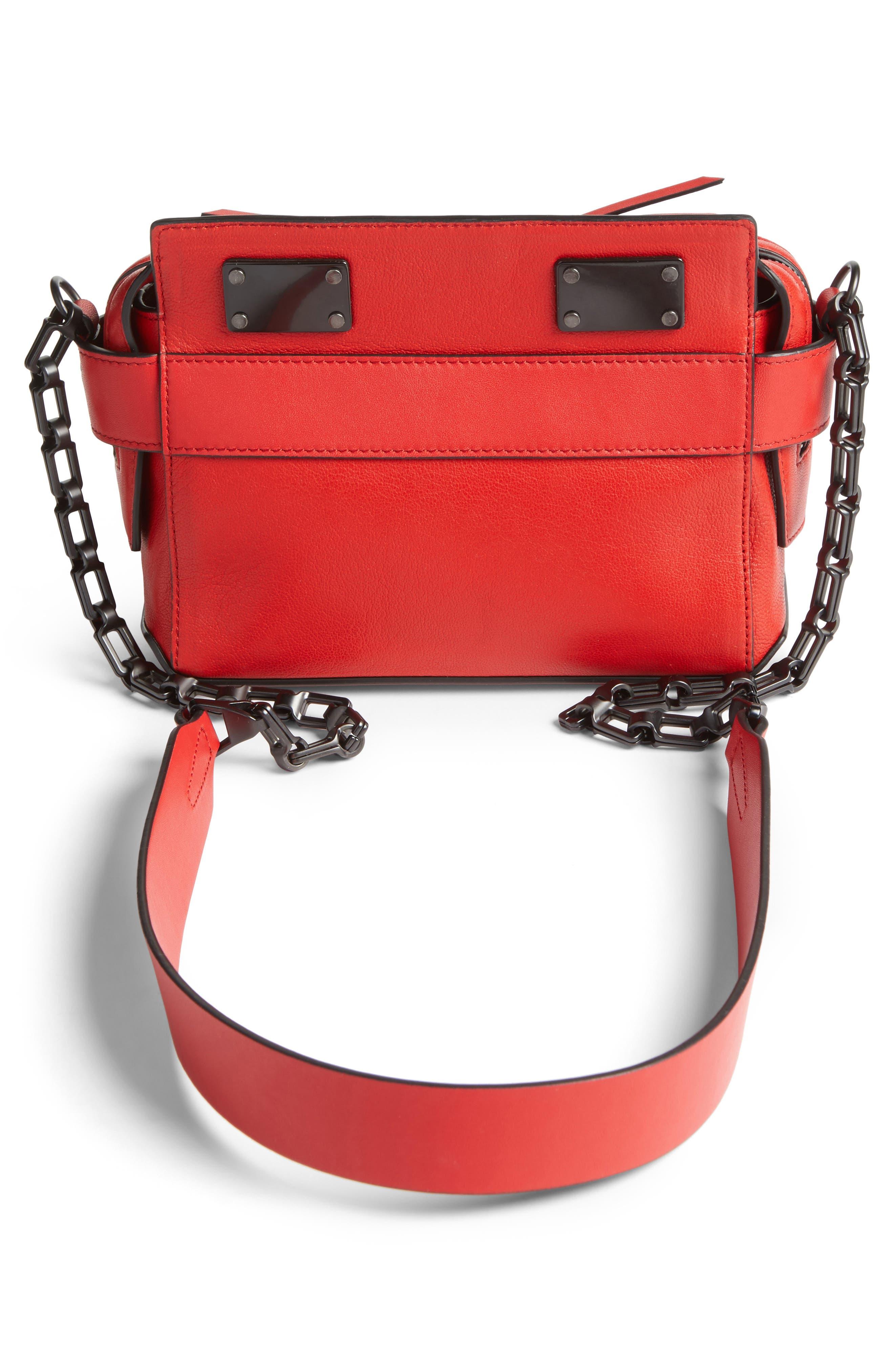 Micro Pilot Leather Satchel,                             Alternate thumbnail 2, color,                             Royal Red