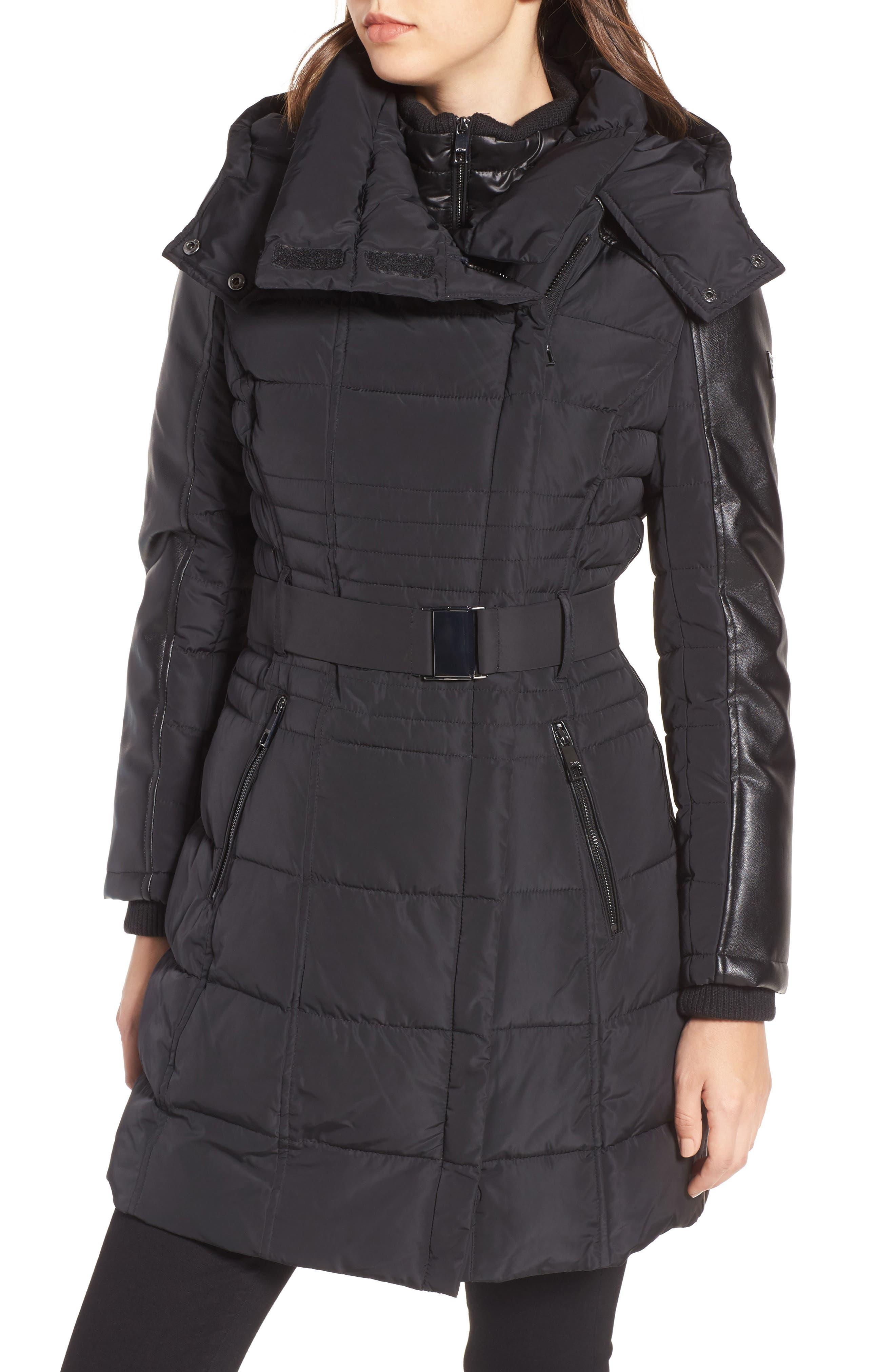 Belted Mixed Media Coat,                         Main,                         color, Black