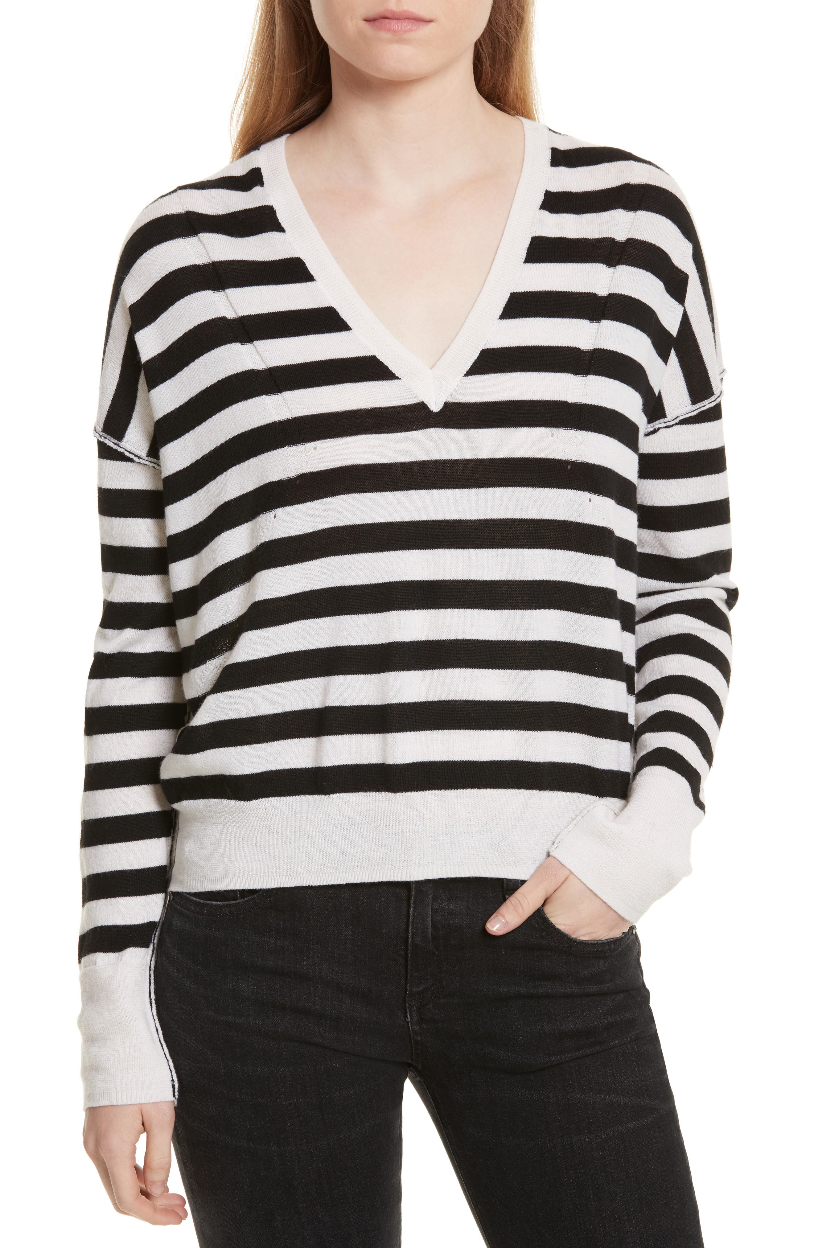 Bevan Stripe Wool Sweater,                             Main thumbnail 1, color,                             White/ Black