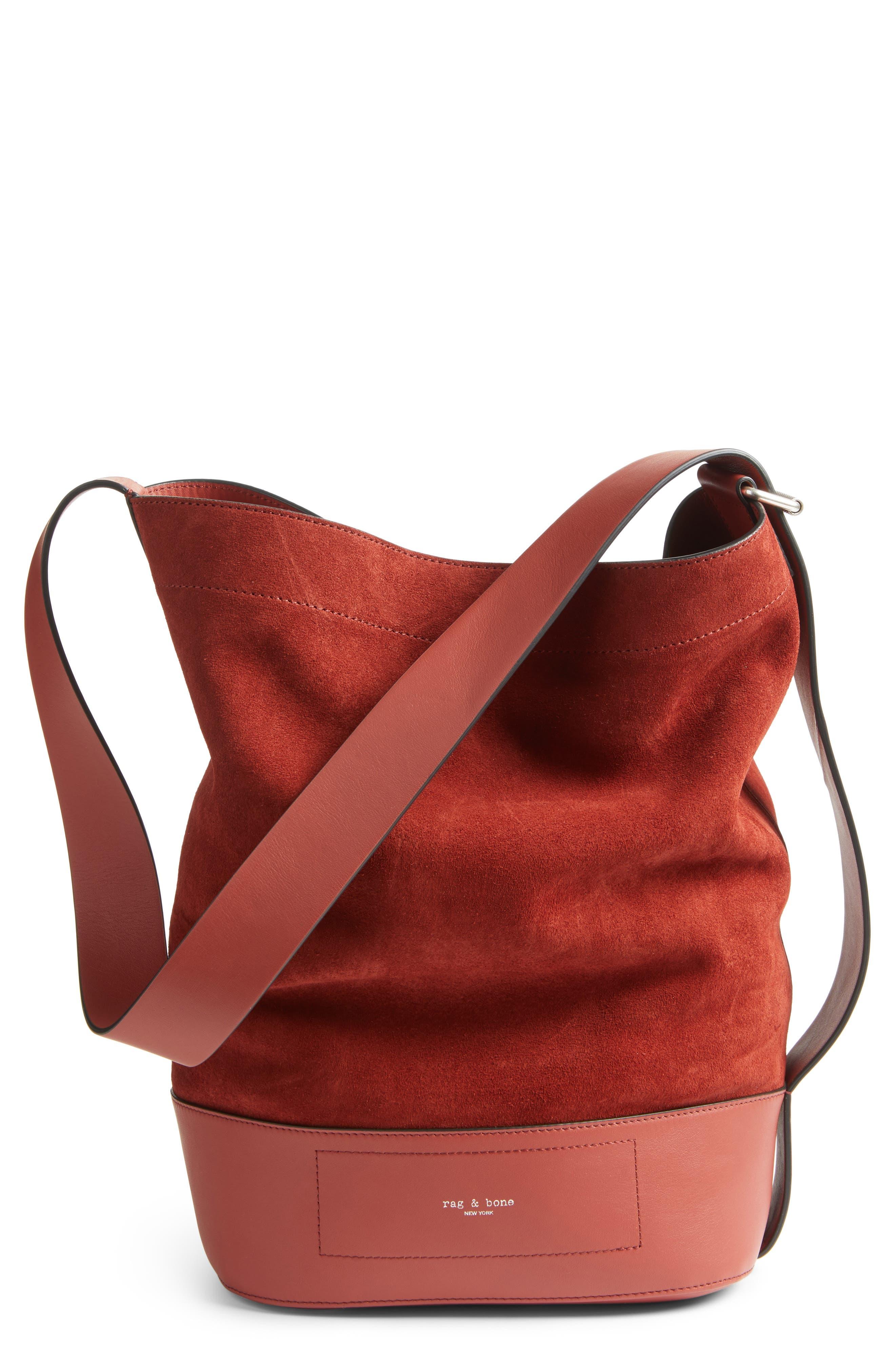 Main Image - rag and bone Walker Sling Leather & Suede Bucket Bag