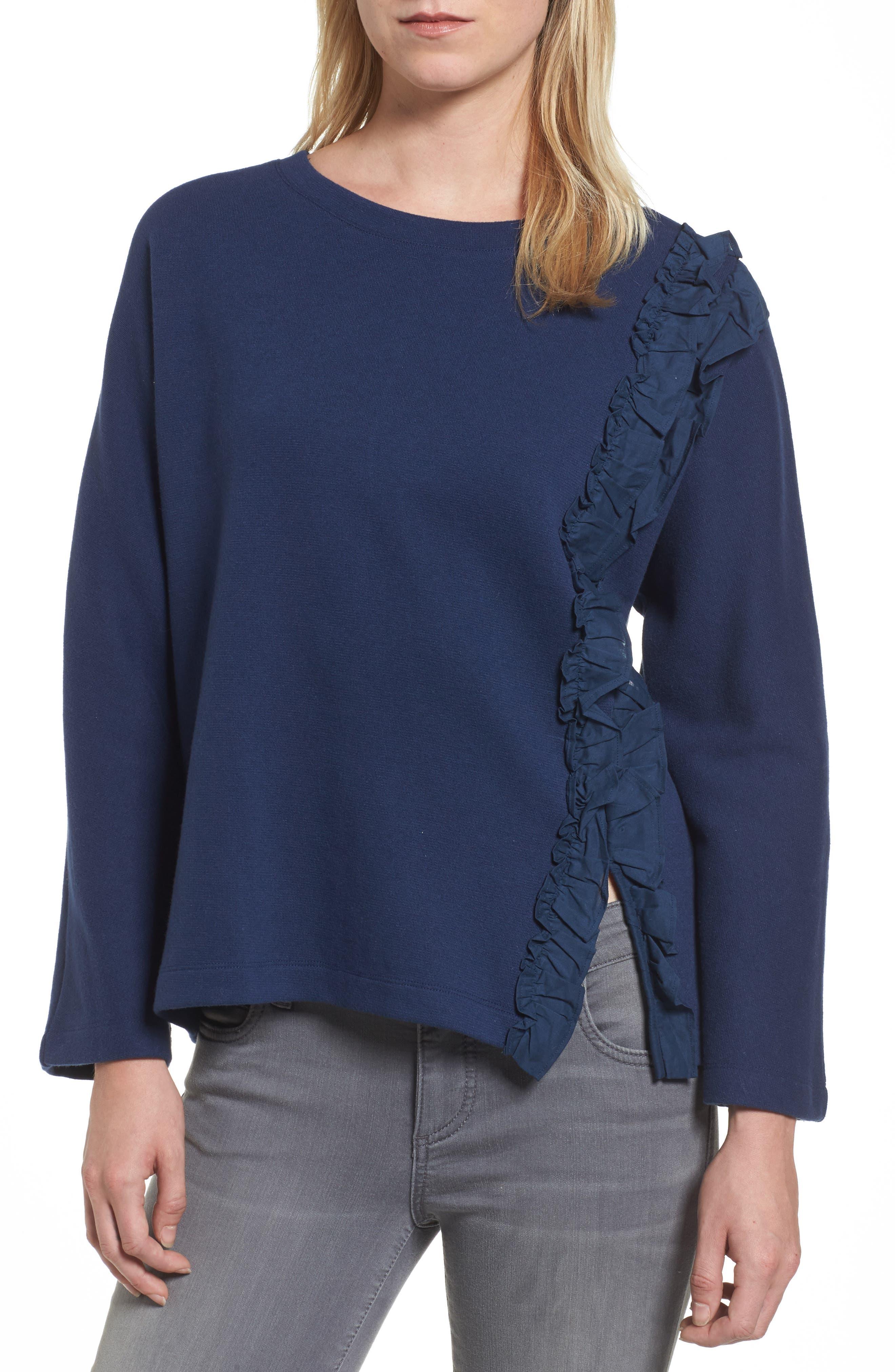 Halogen® Side Ruffle Sweatshirt (Regular & Petite)