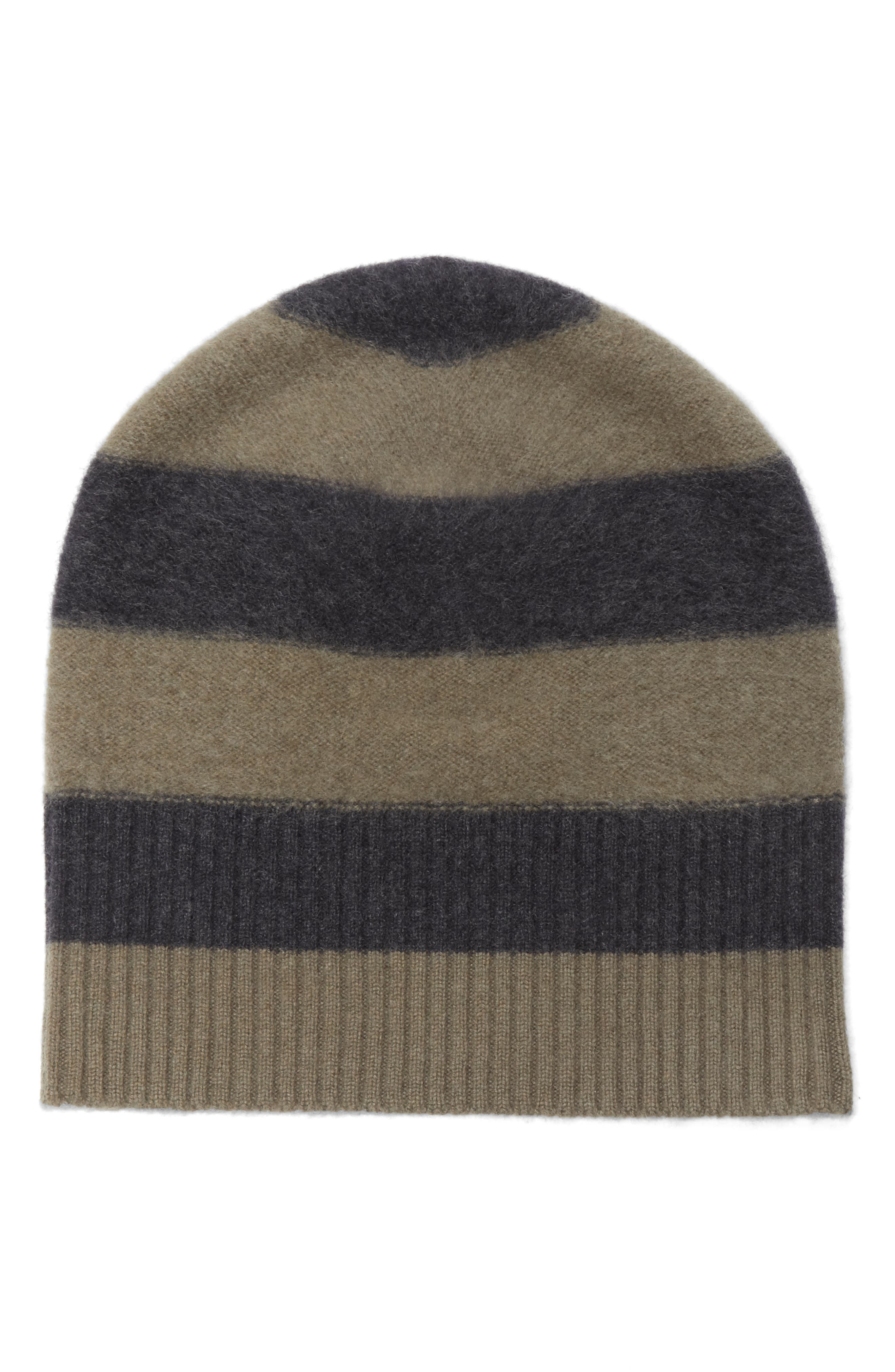 Stripe Cashmere Beanie,                             Main thumbnail 1, color,                             Olivewood/ Heather Carbon