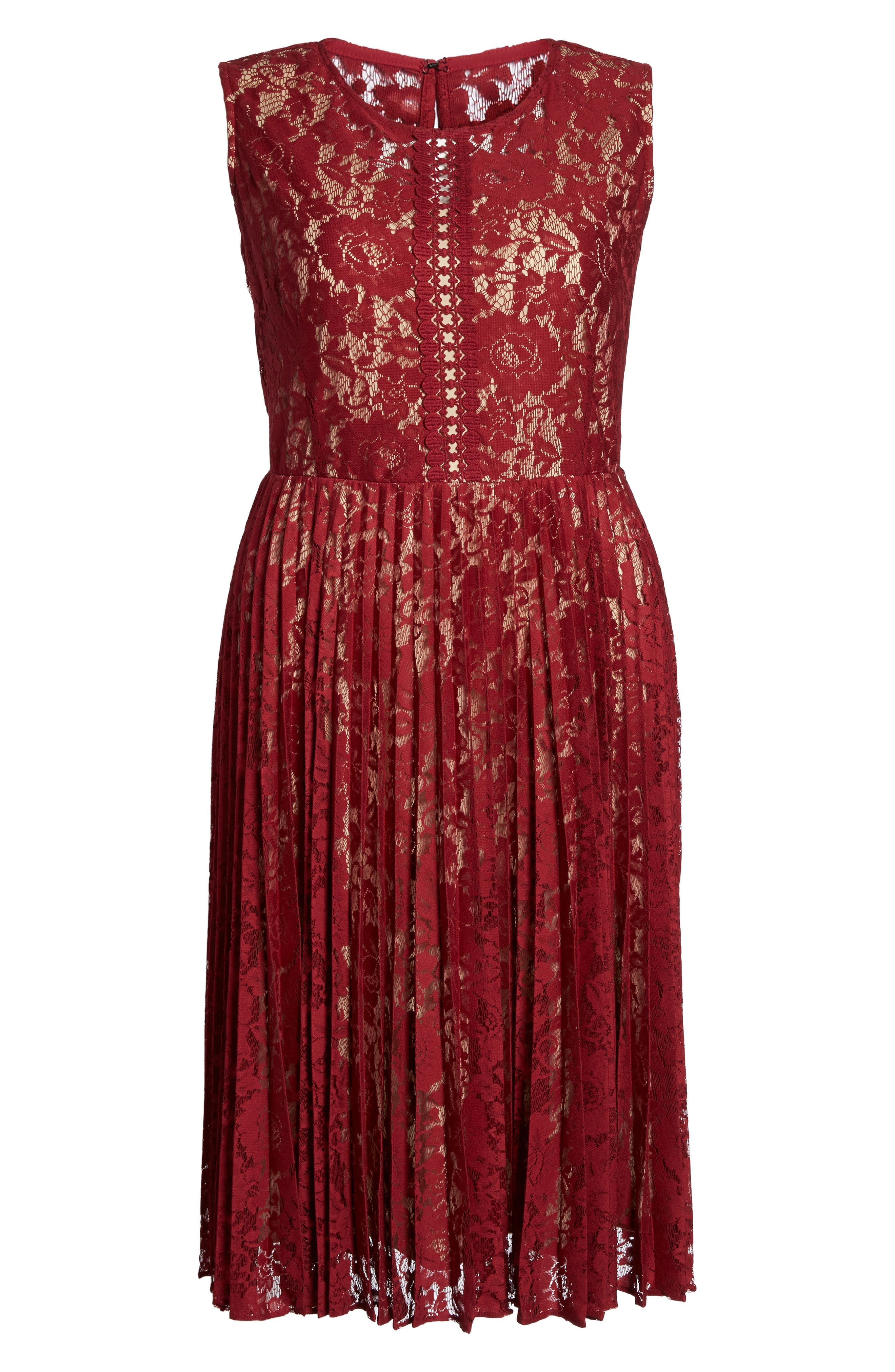 Alternate Image 6  - Gabby Skye Illusion Lace Pleat Midi Dress (Plus Size)