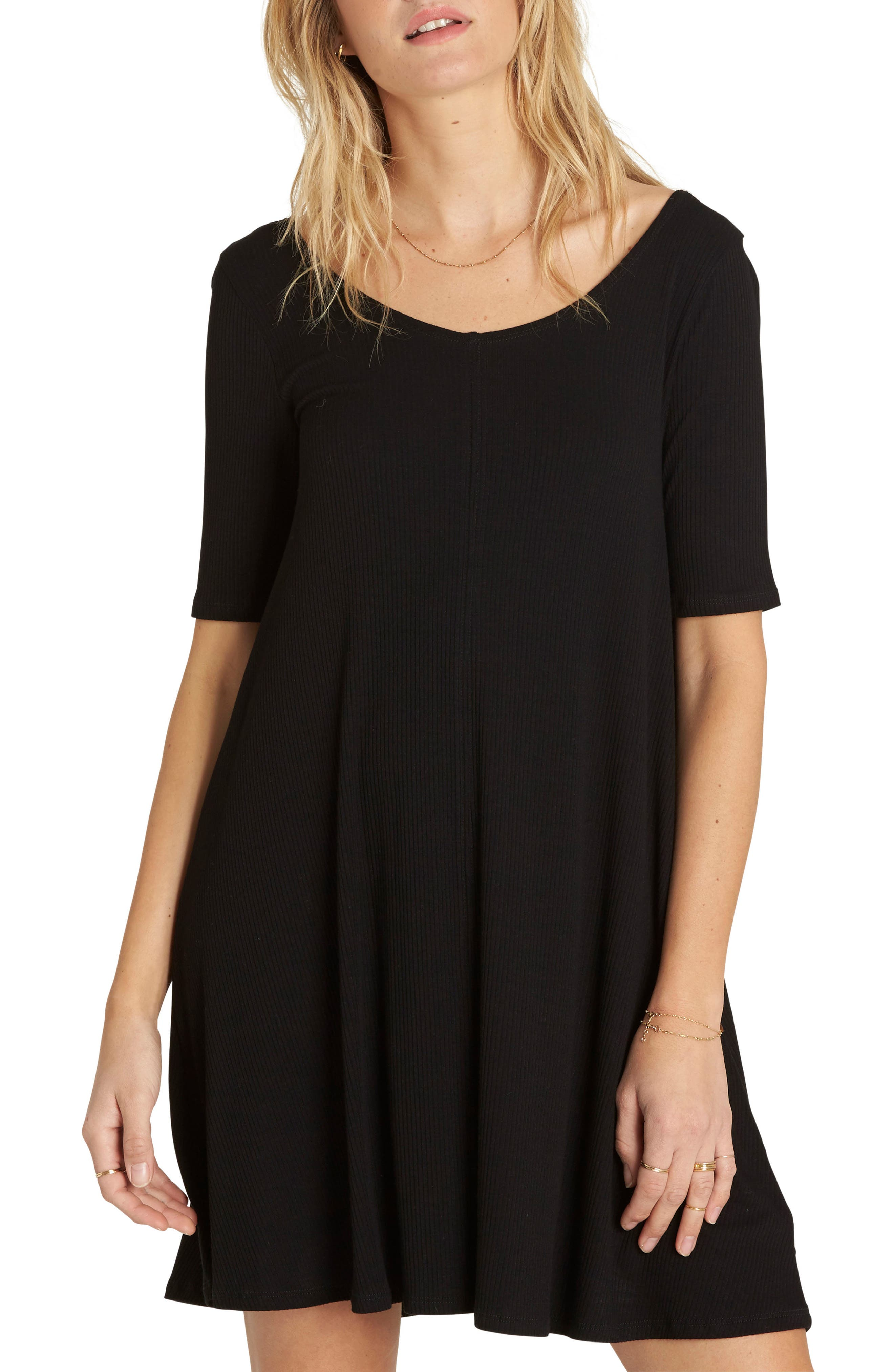 Nothing to Hide Ribbed T-Shirt Dress,                             Main thumbnail 1, color,                             Black