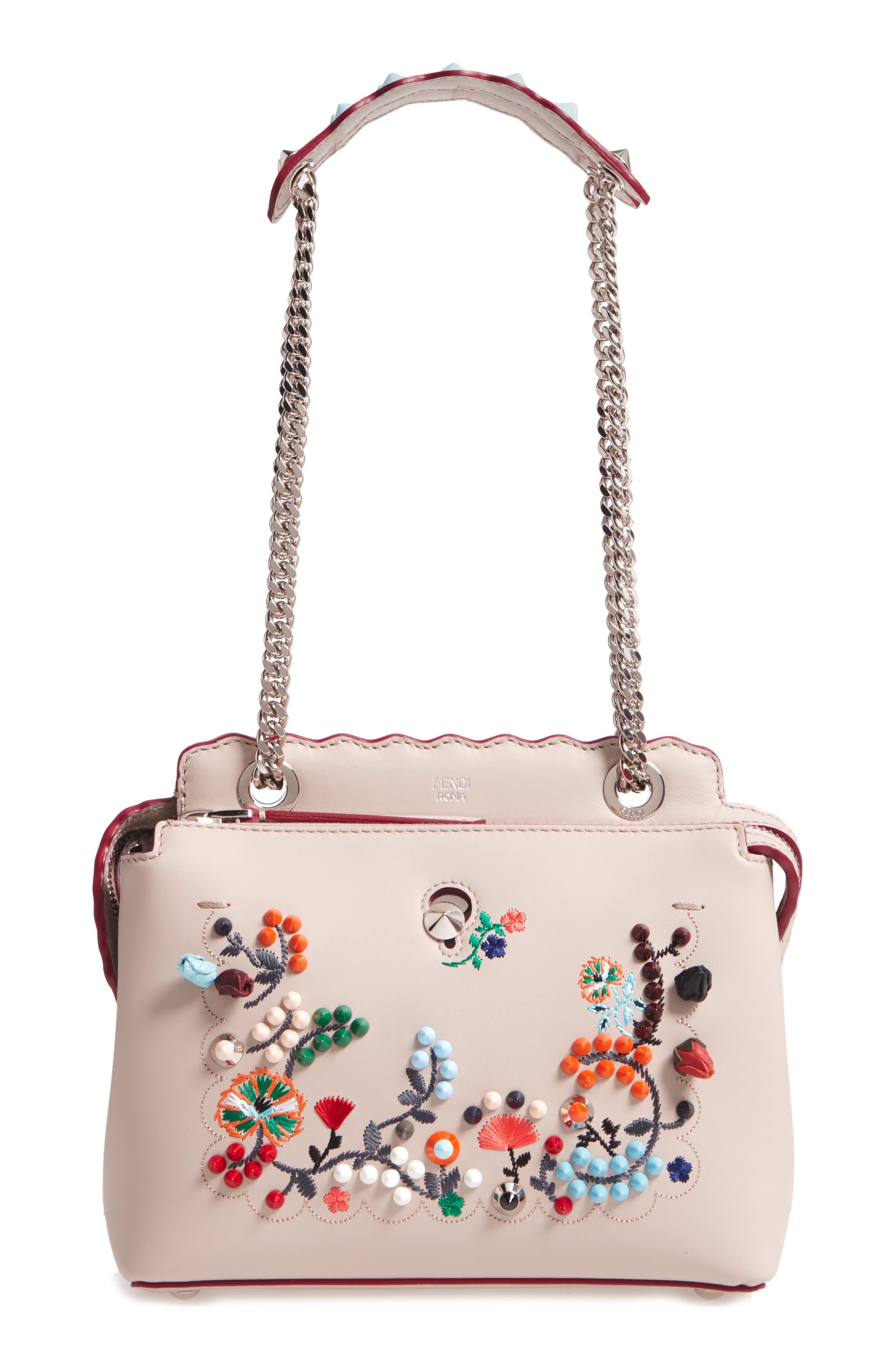 Alternate Image 1 Selected - Fendi Small Dotcom Leather Shoulder Bag