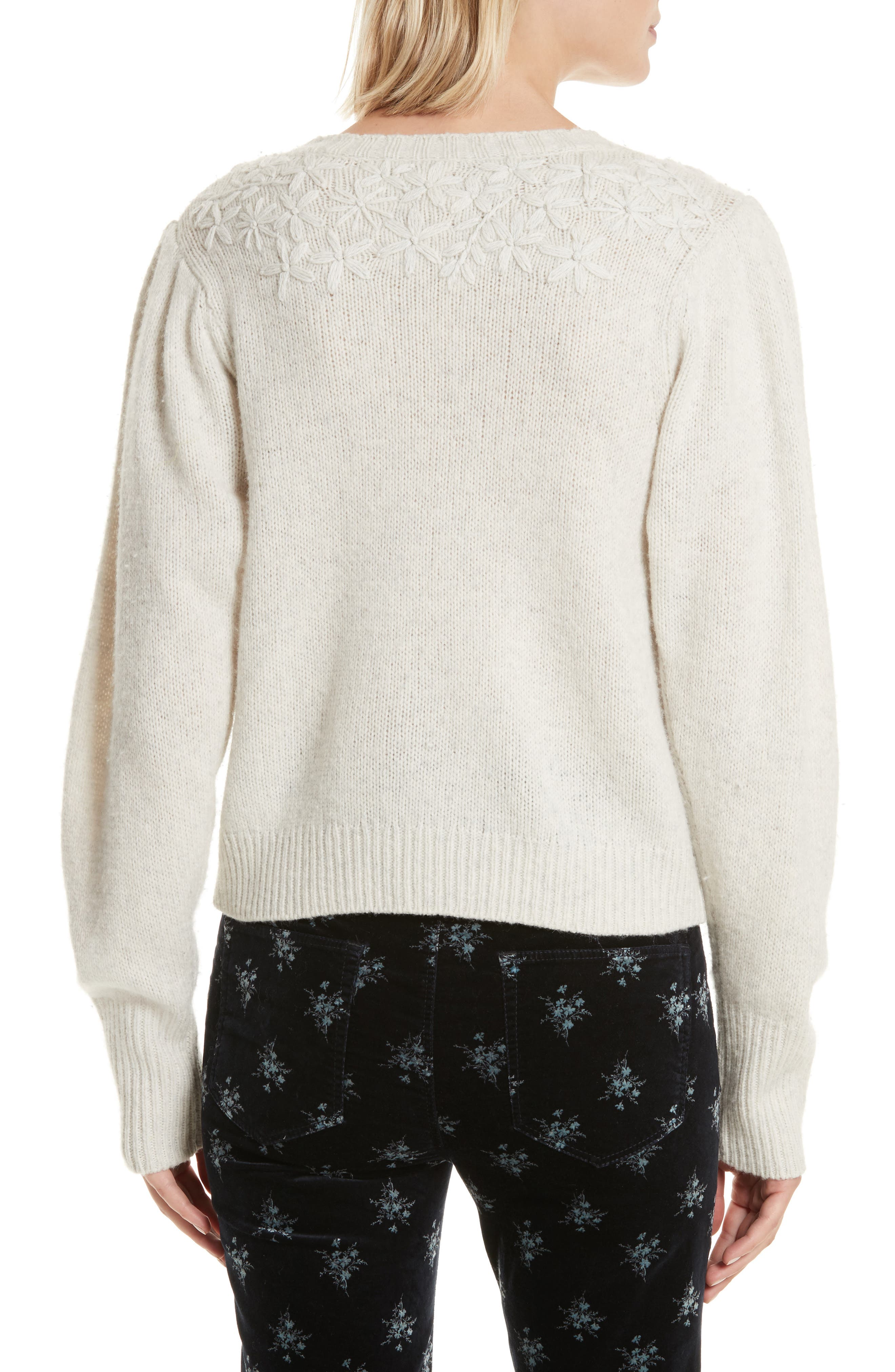 Floral Embroidered Pullover,                             Alternate thumbnail 2, color,                             Opaline Heather
