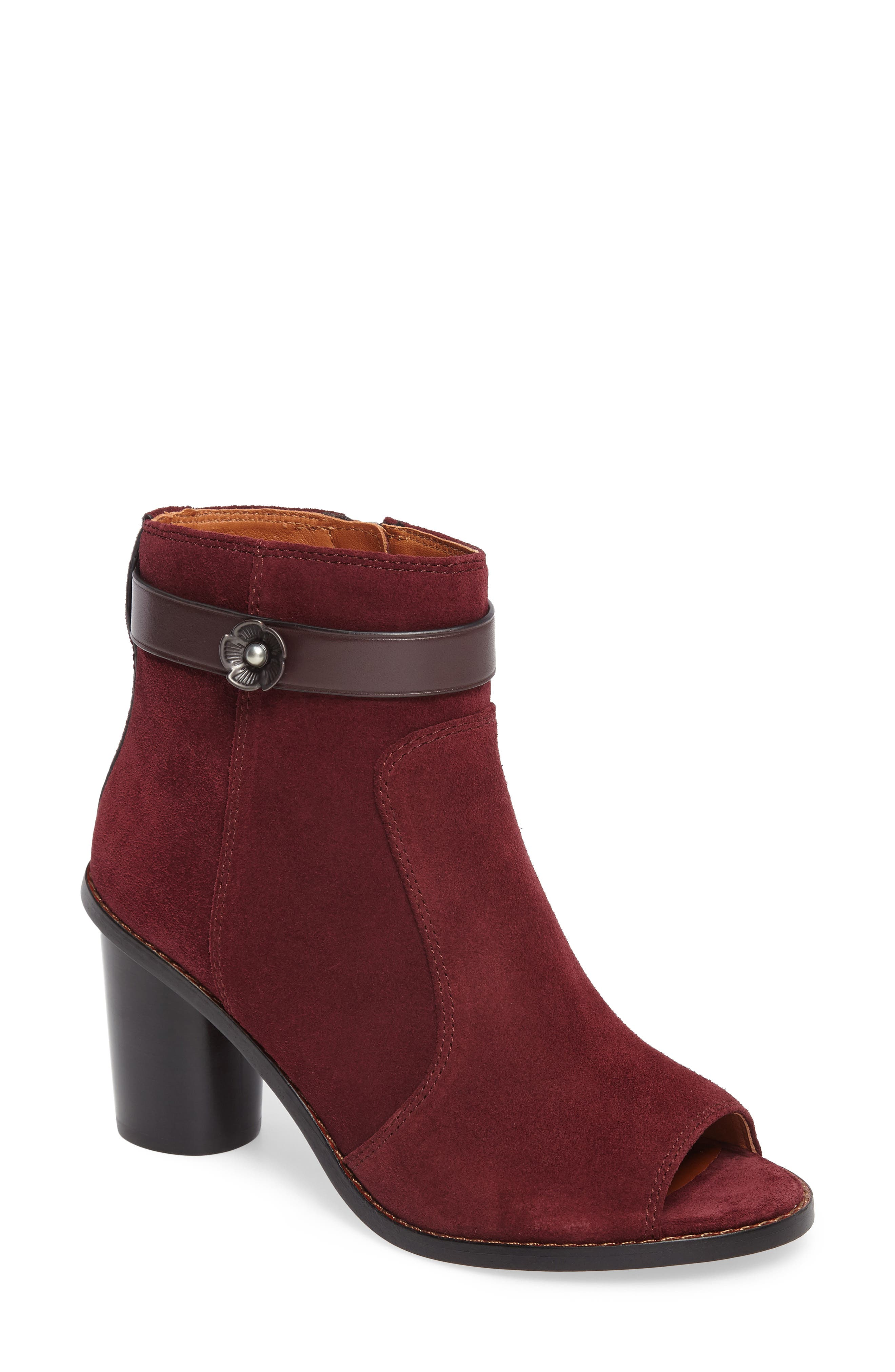 COACH Peep Toe Moto Boot (Women)