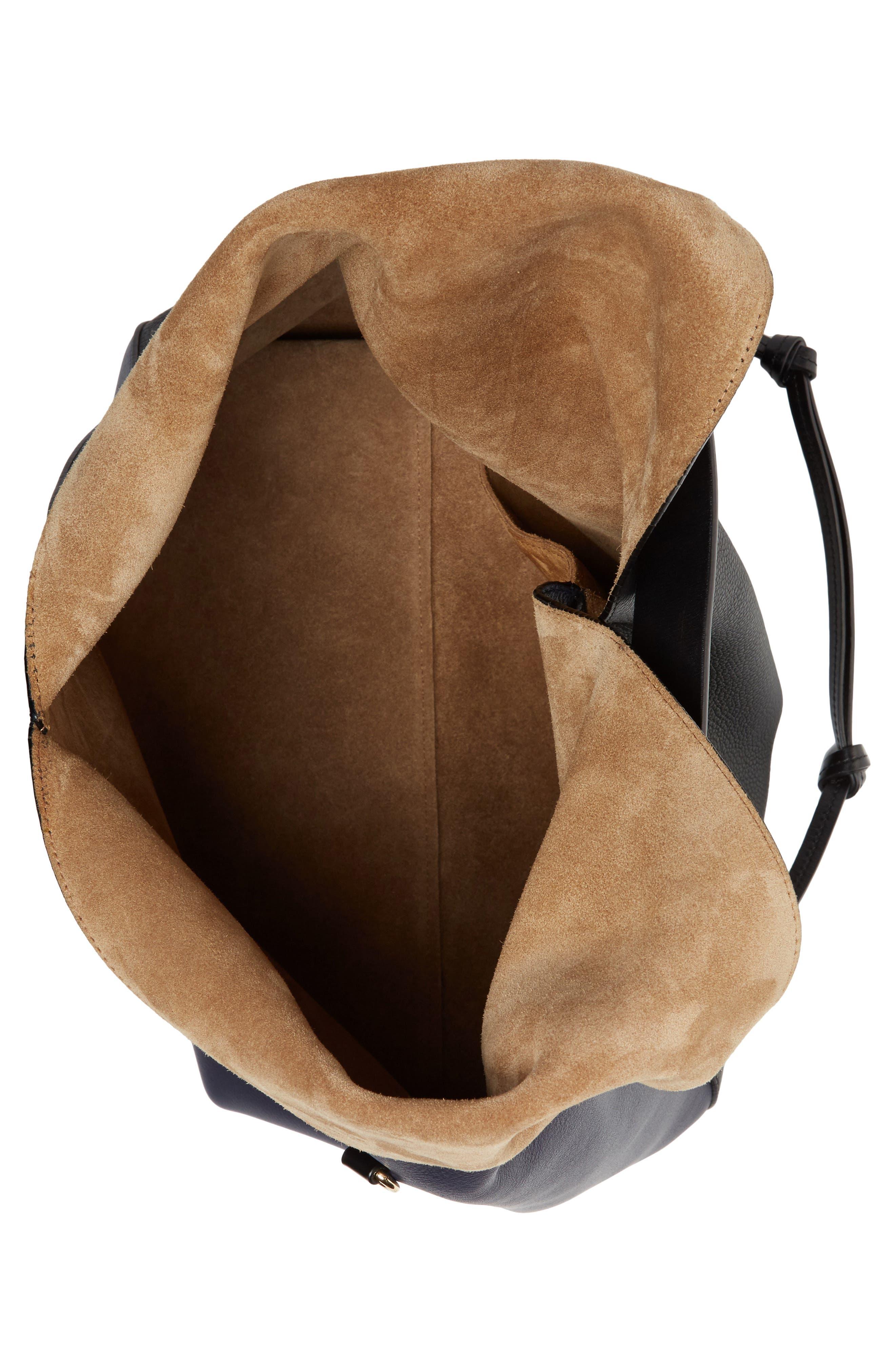 Calfskin Leather Sling Bag,                             Alternate thumbnail 3, color,                             Midnight Blue/ Black