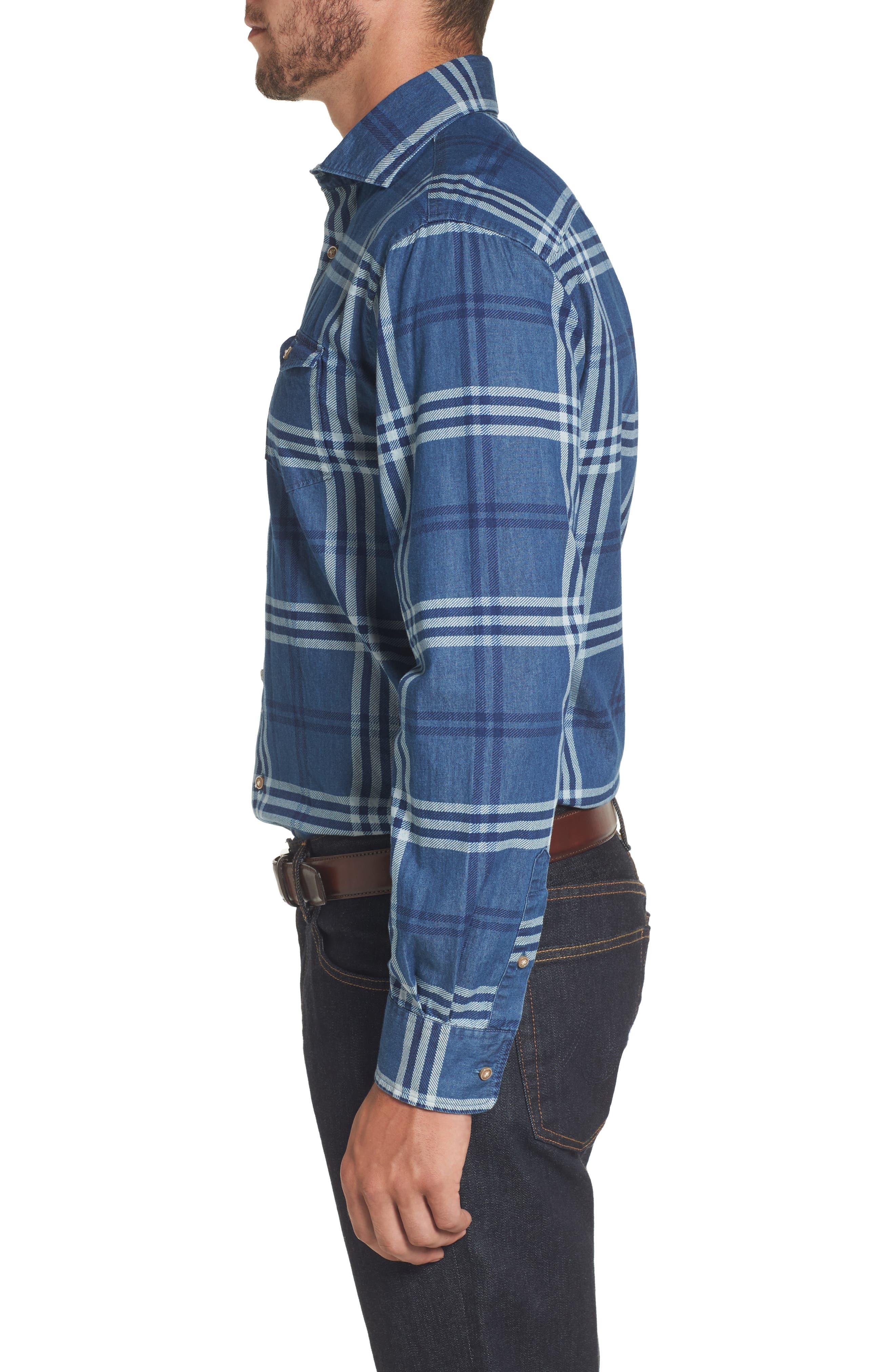 Breckenridge Plaid Sport Shirt,                             Alternate thumbnail 3, color,                             Abyss