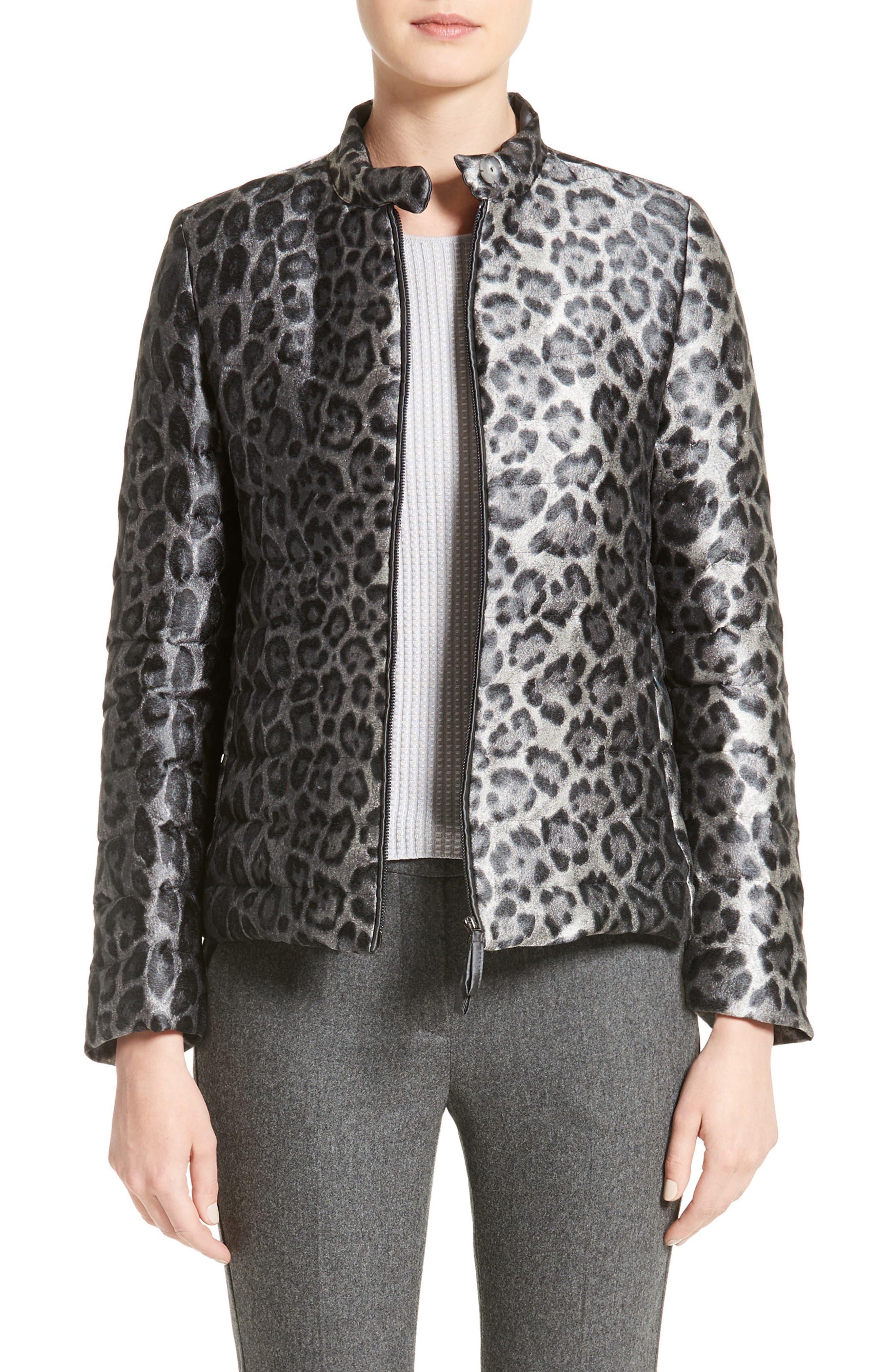 Leopard Print Down Puffer Jacket,                         Main,                         color, Grey Multi